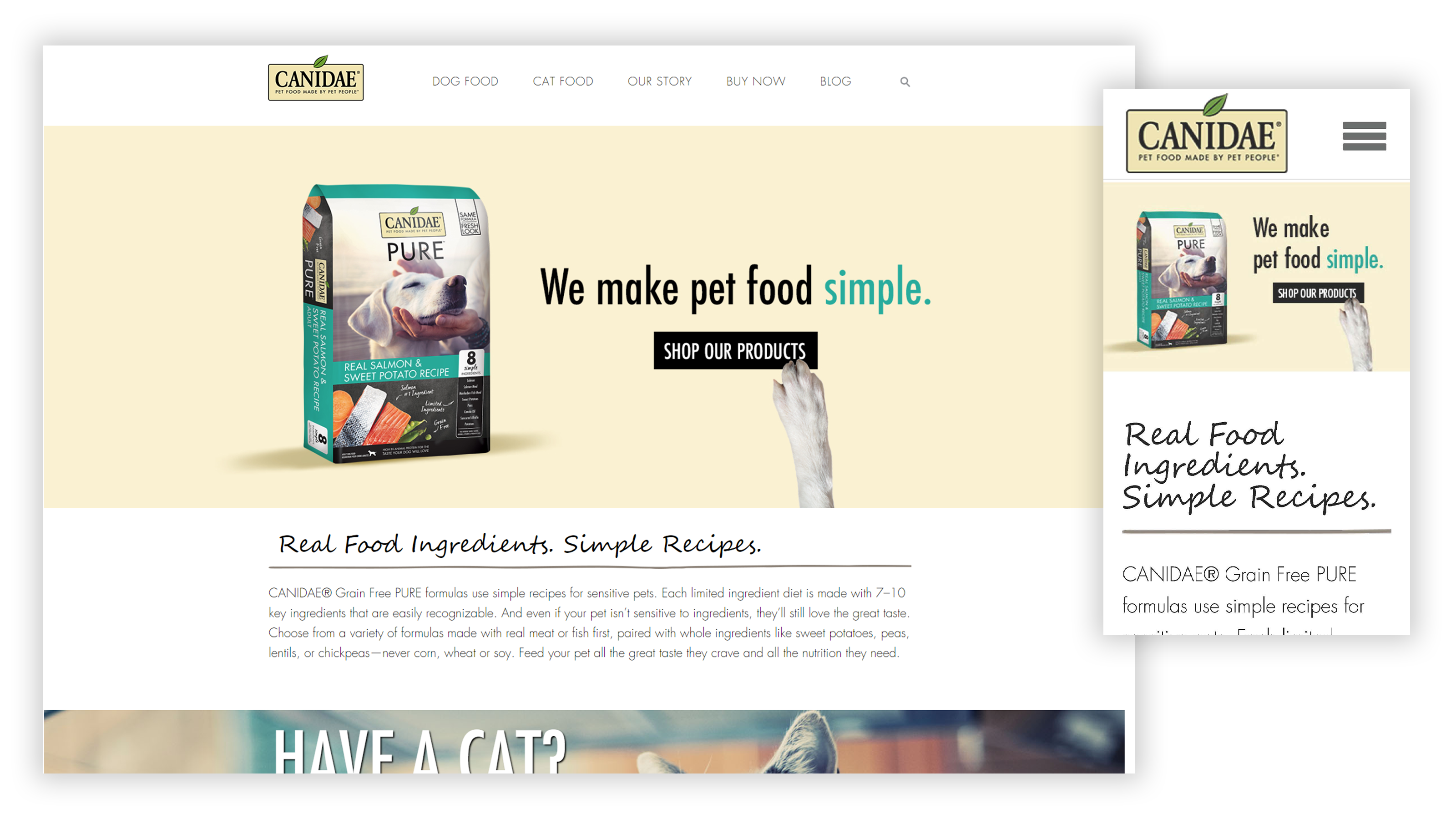 CANIDAE website Home Page on desktop and mobile