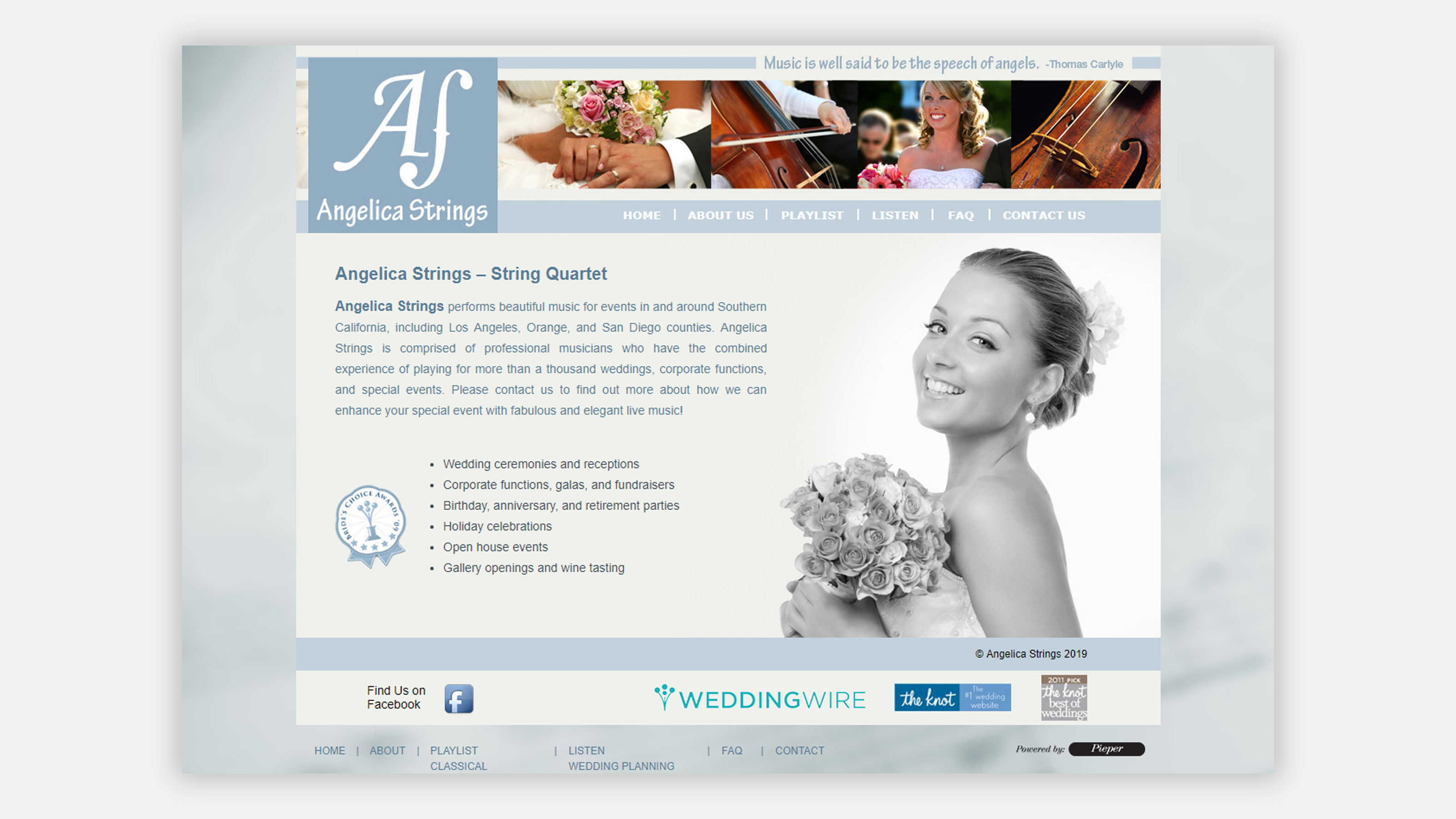 Angelica Strings website homepage on desktop
