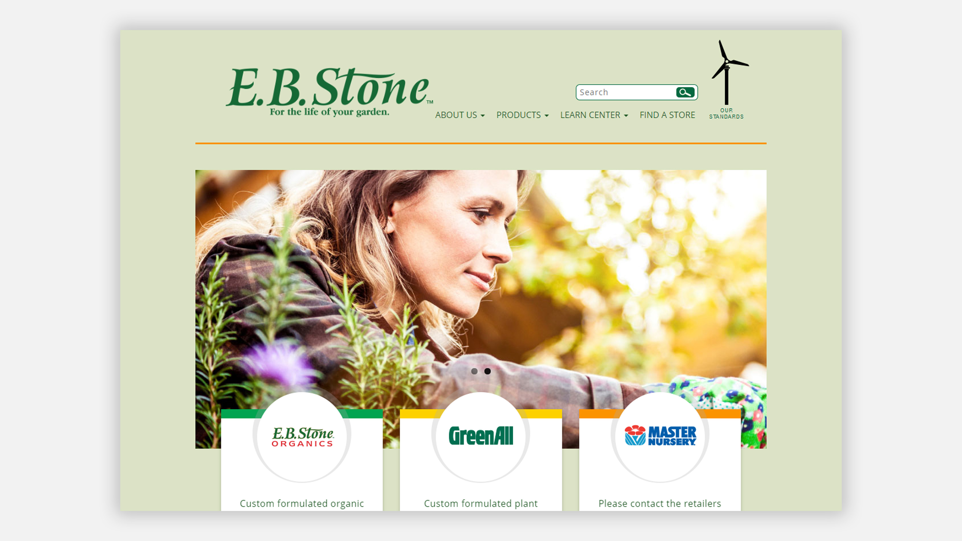 E.B. Stone Home Page on desktop