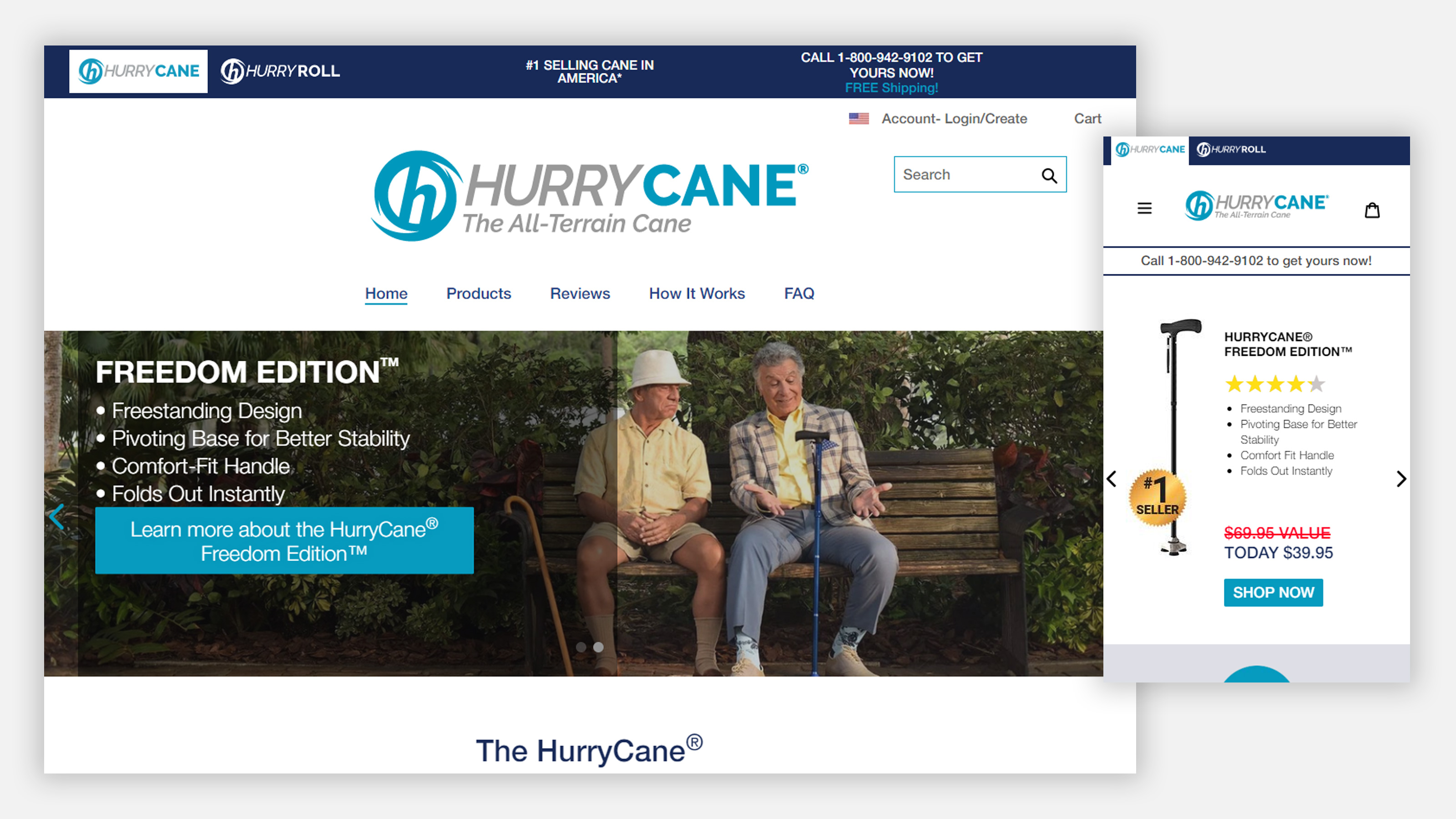 HurryCane home page on desktop and mobile