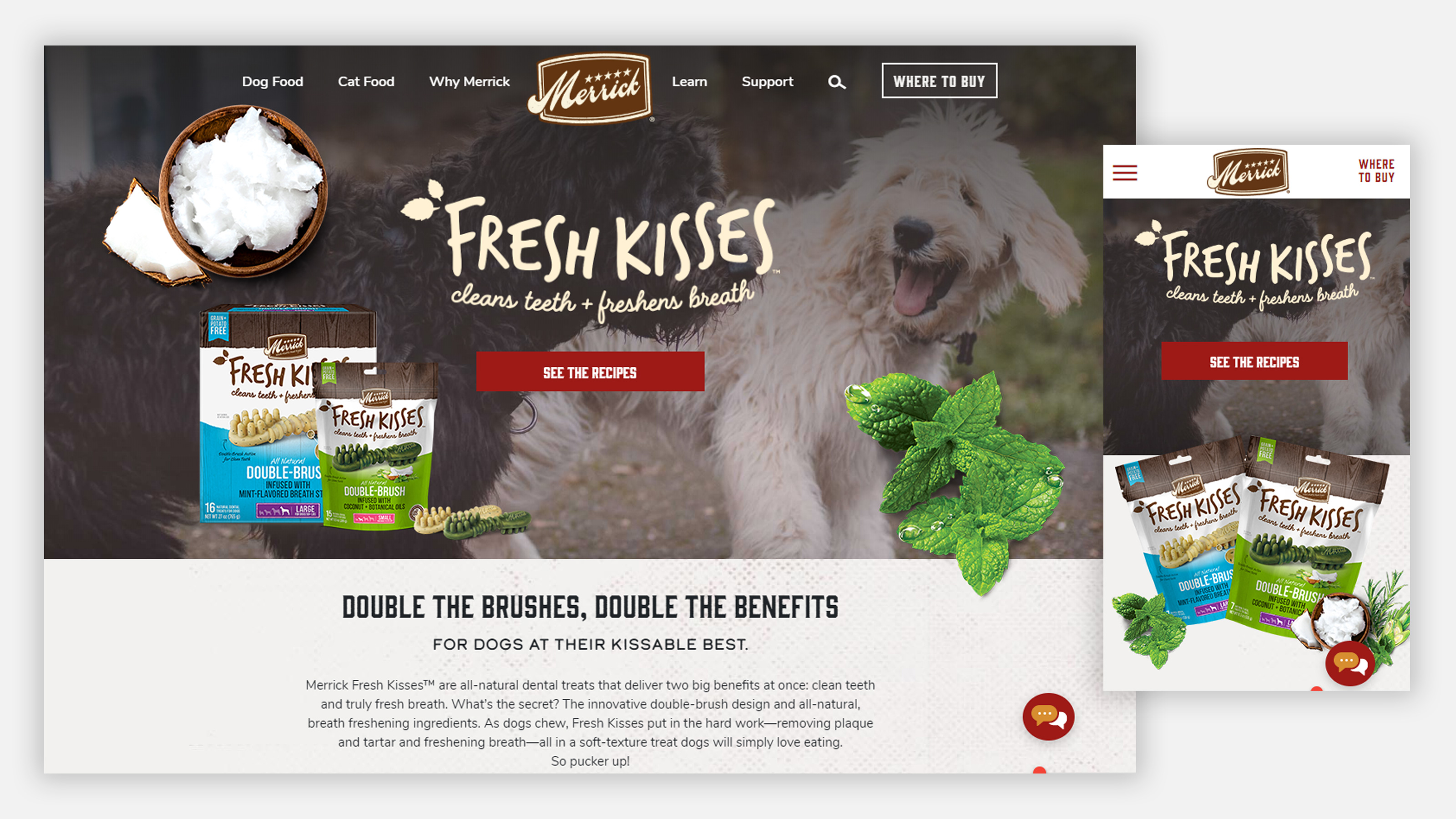 Merrick Fresh Kisses landing page on desktop and mobile