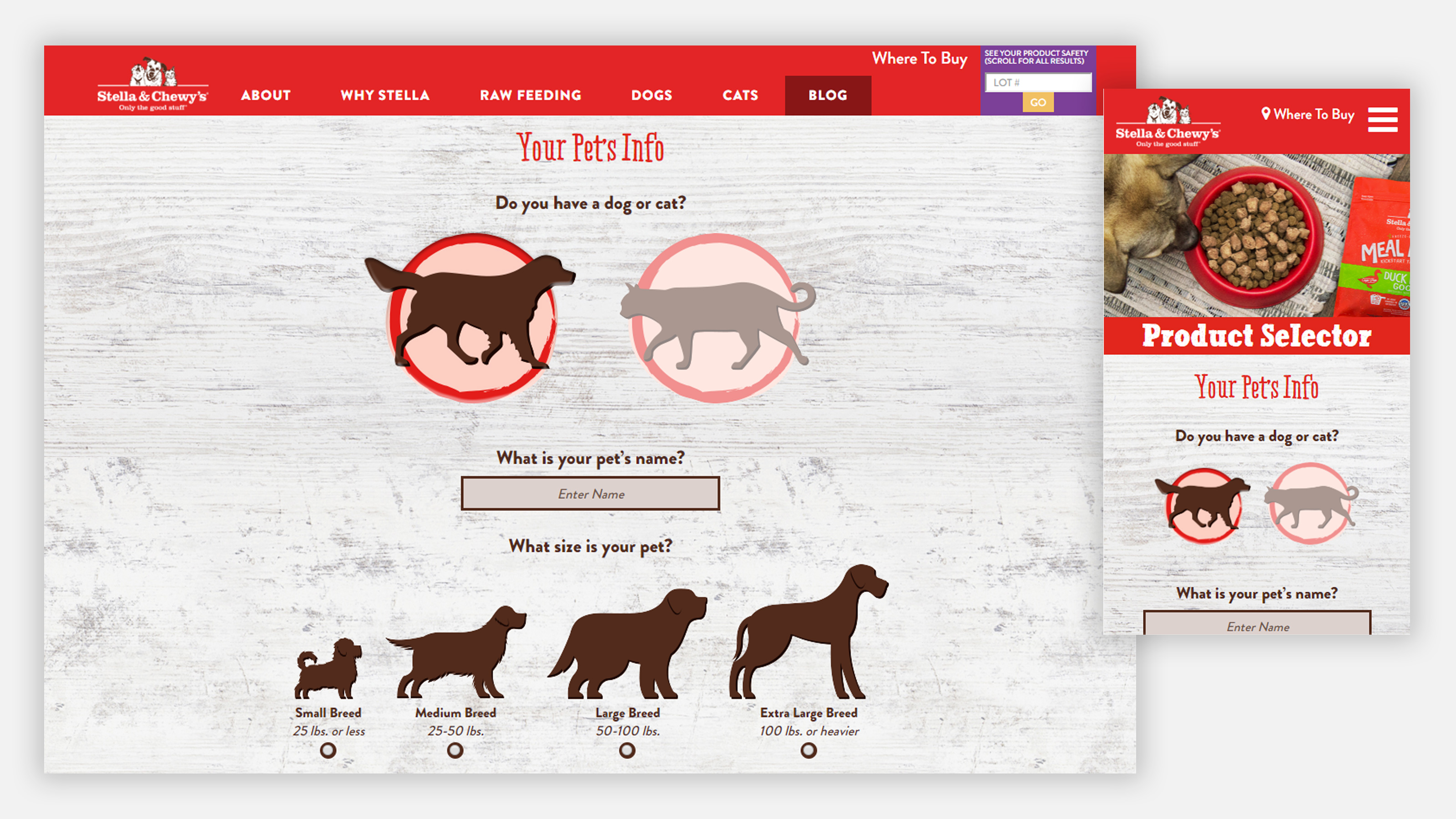 Stella & Chewy's website page on desktop and mobile