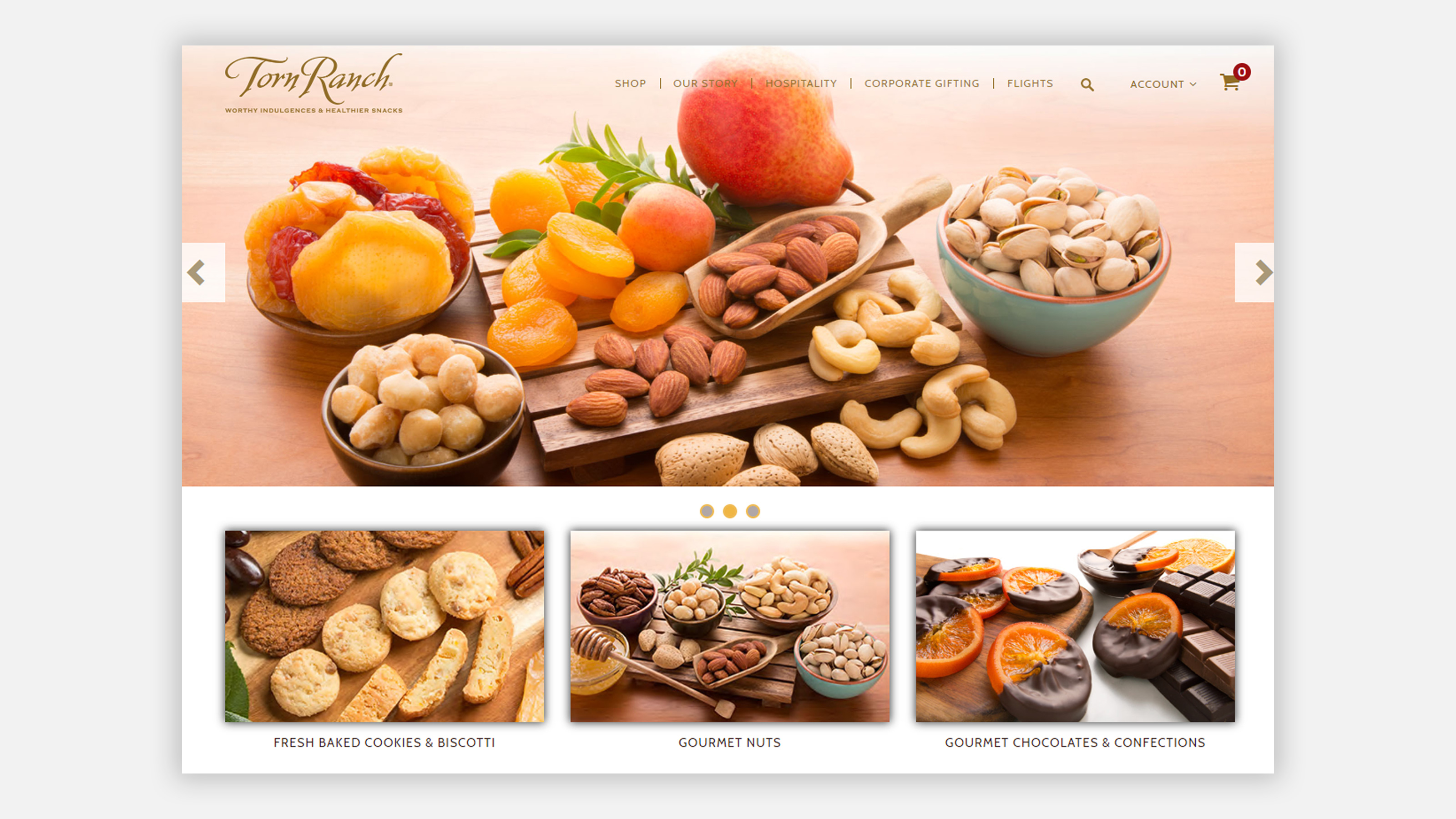 Torn Ranch website homepage, featuring a variety of dried fruit, nuts, cookies and chocolate dipped oranges
