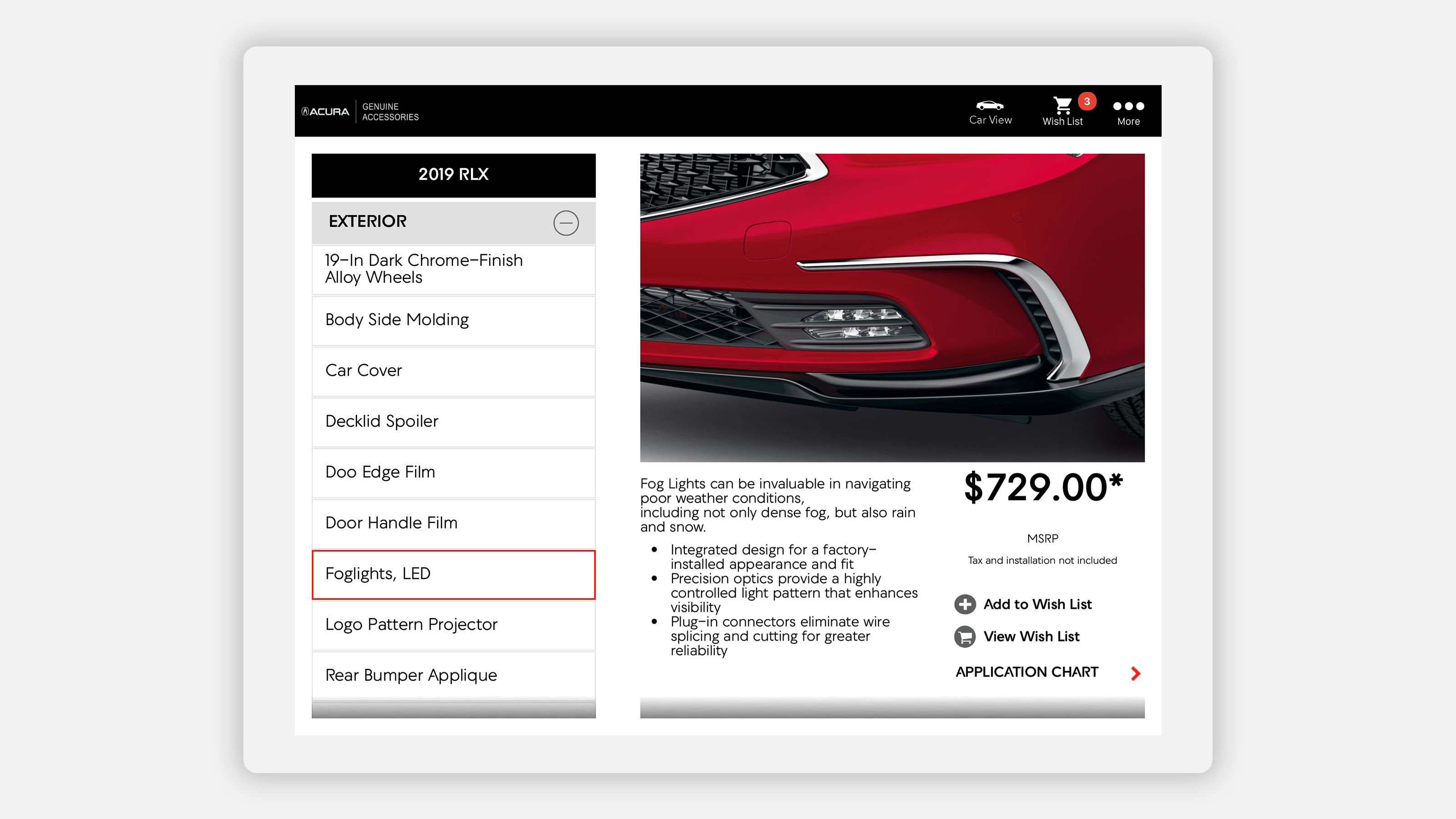 acura accessories app on tablet - red 2019 RLX with additional features and accessories