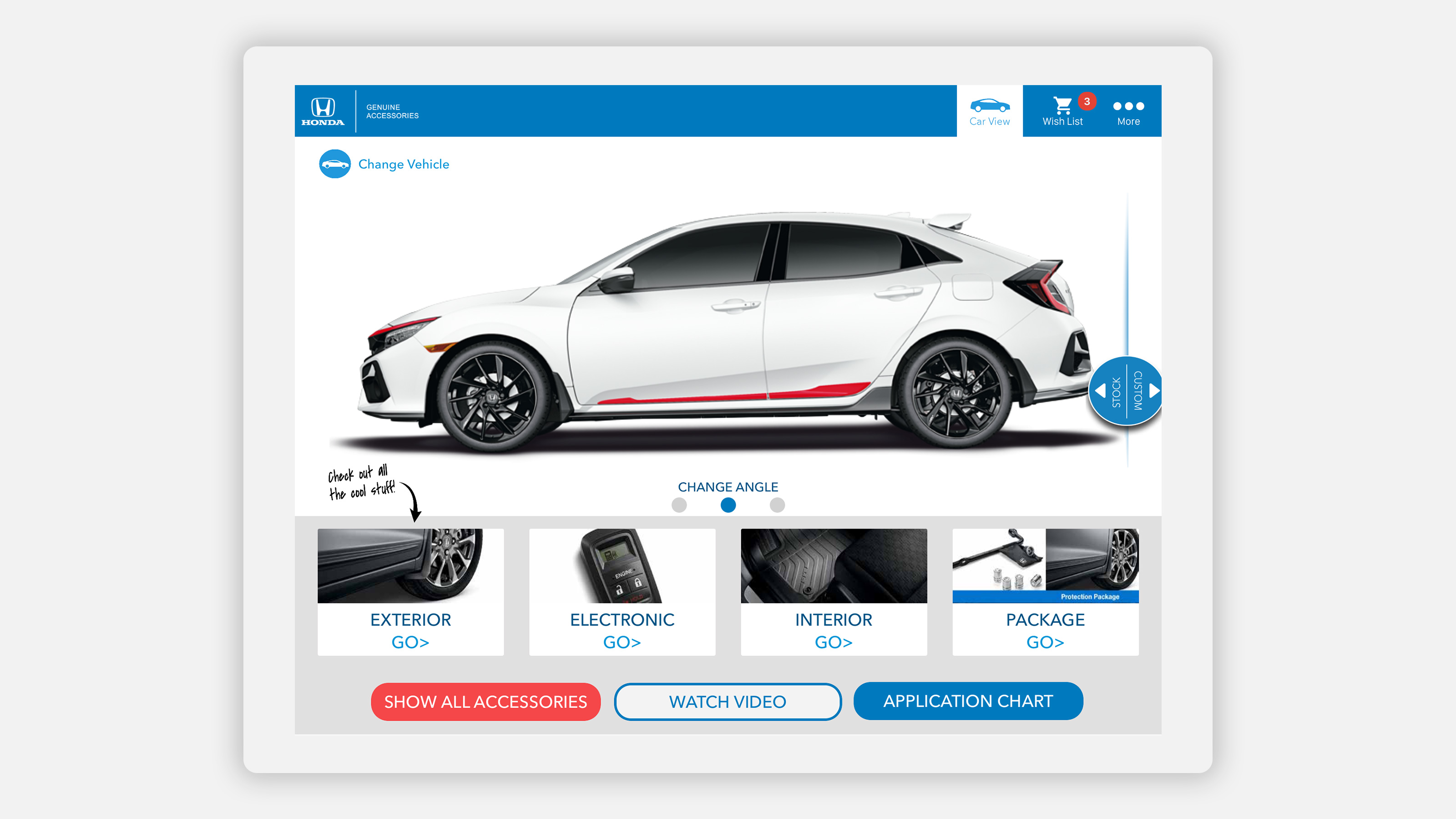 honda accessories app on tablet - show all accessories car view page