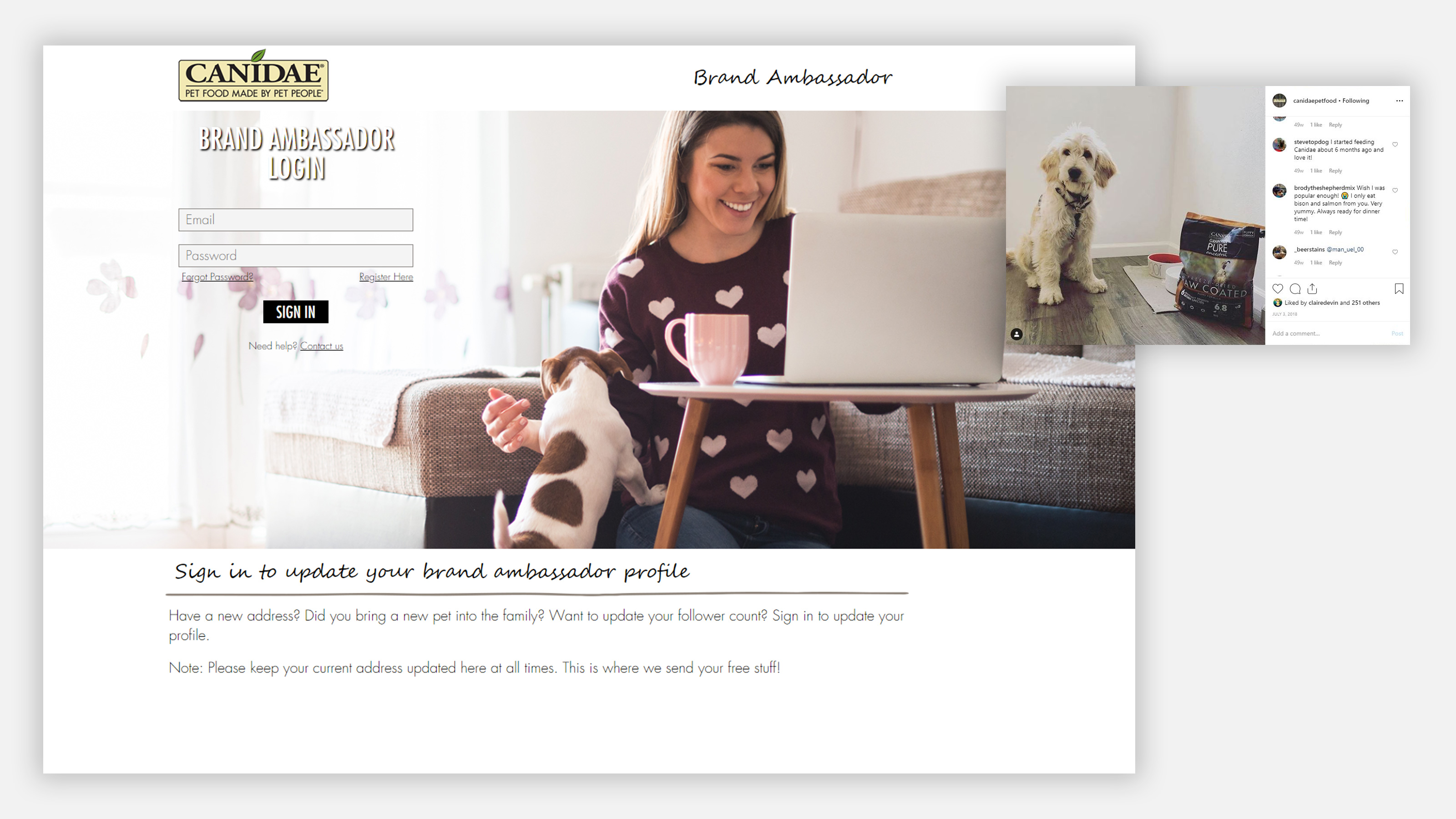 canidae brand ambassador portal and ad on instagram