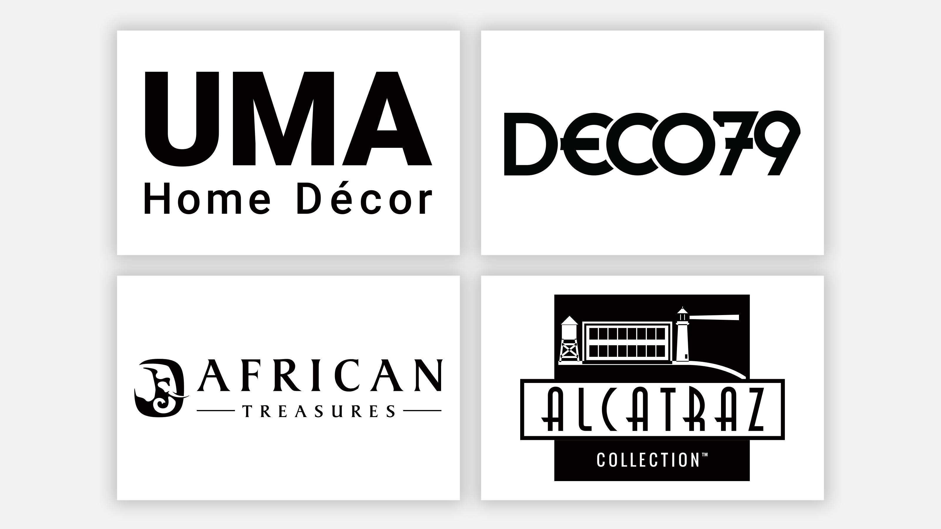 uma logo, deco79 logo, african treasures logo, and alcatraz collection logo