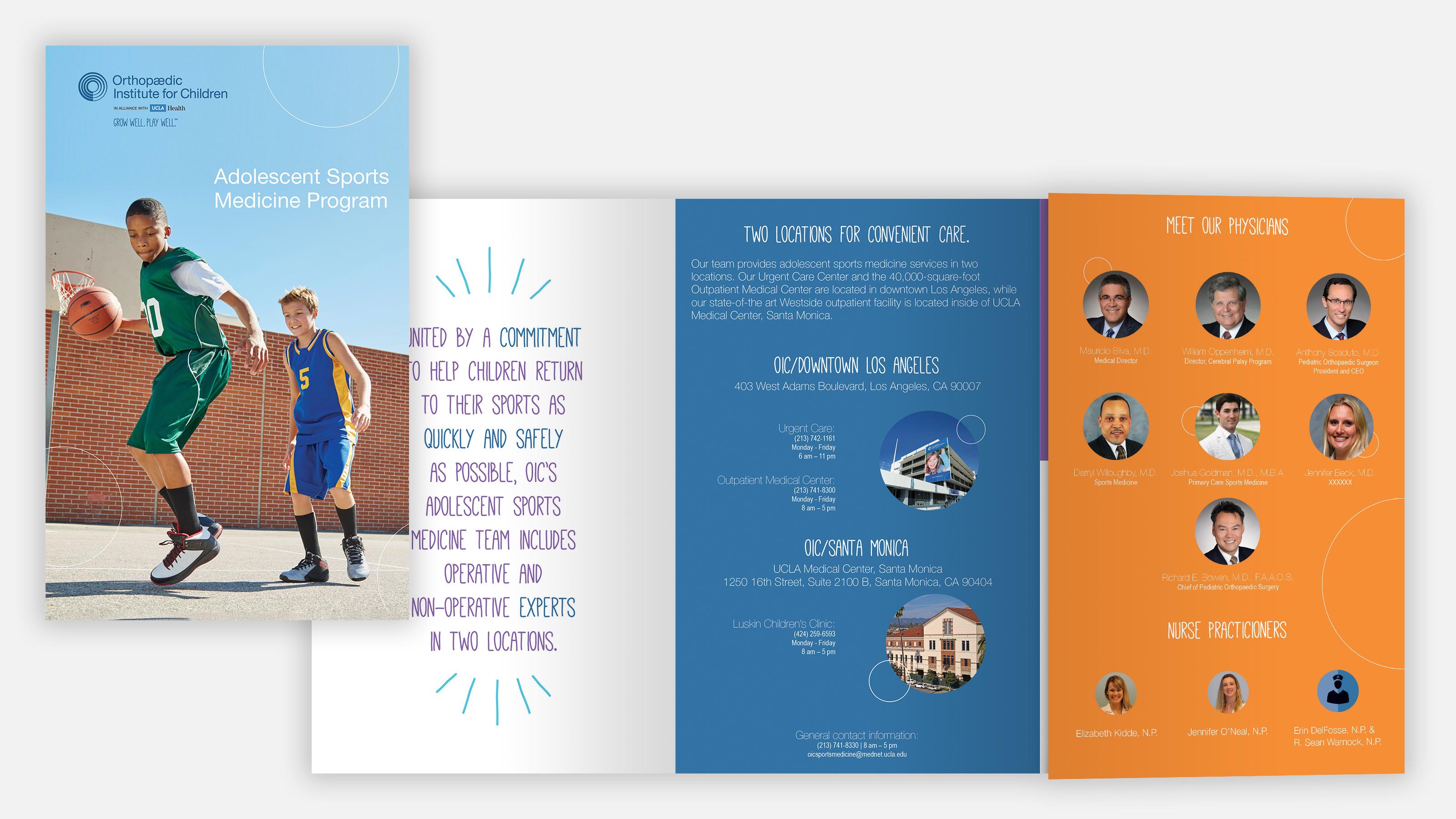 Brochure for Orthopedic Institute for Children. 2 boys playing basketball outside