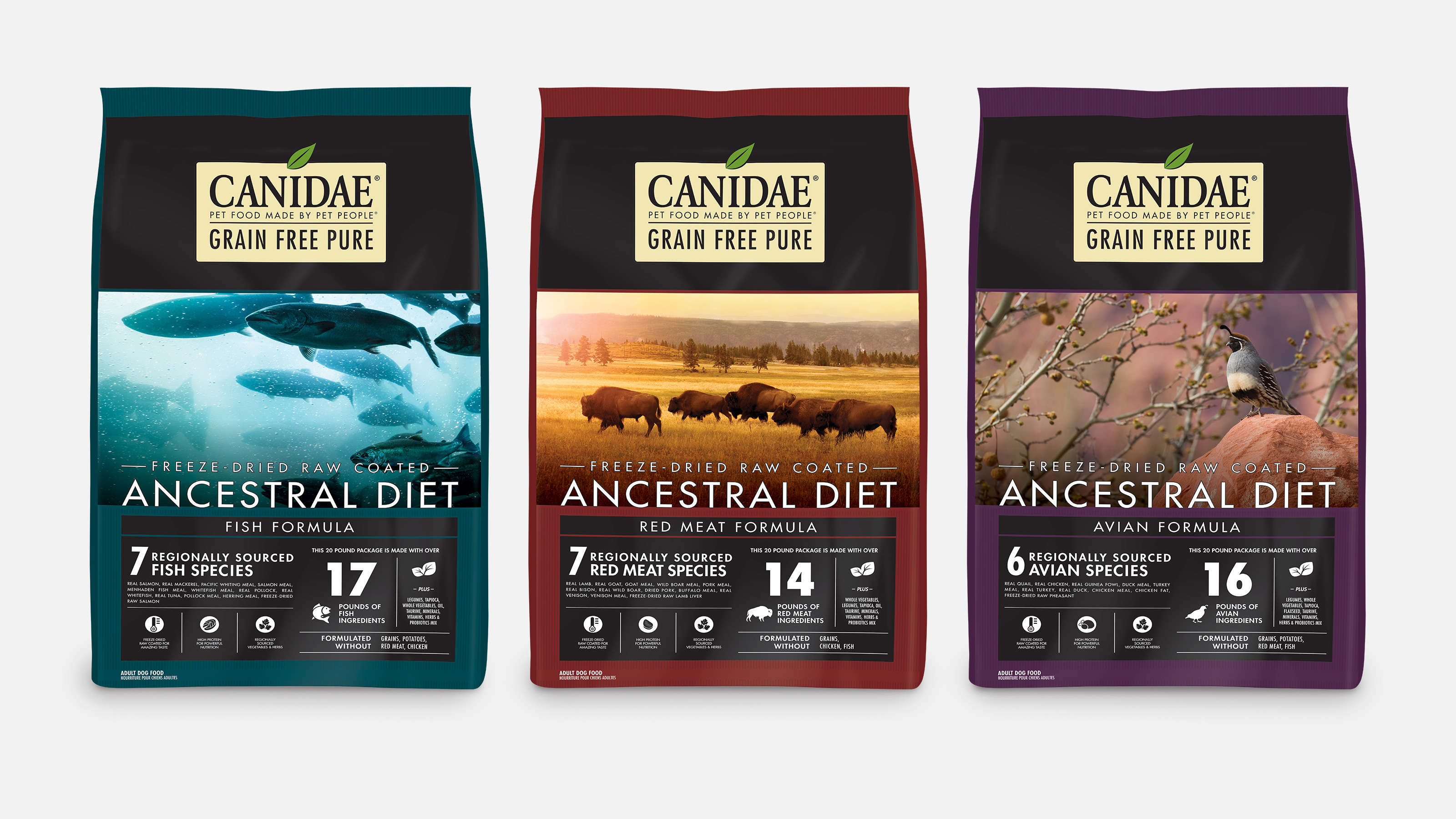 Packaging examples of CANIDAE Ancestral dog dry food recipes