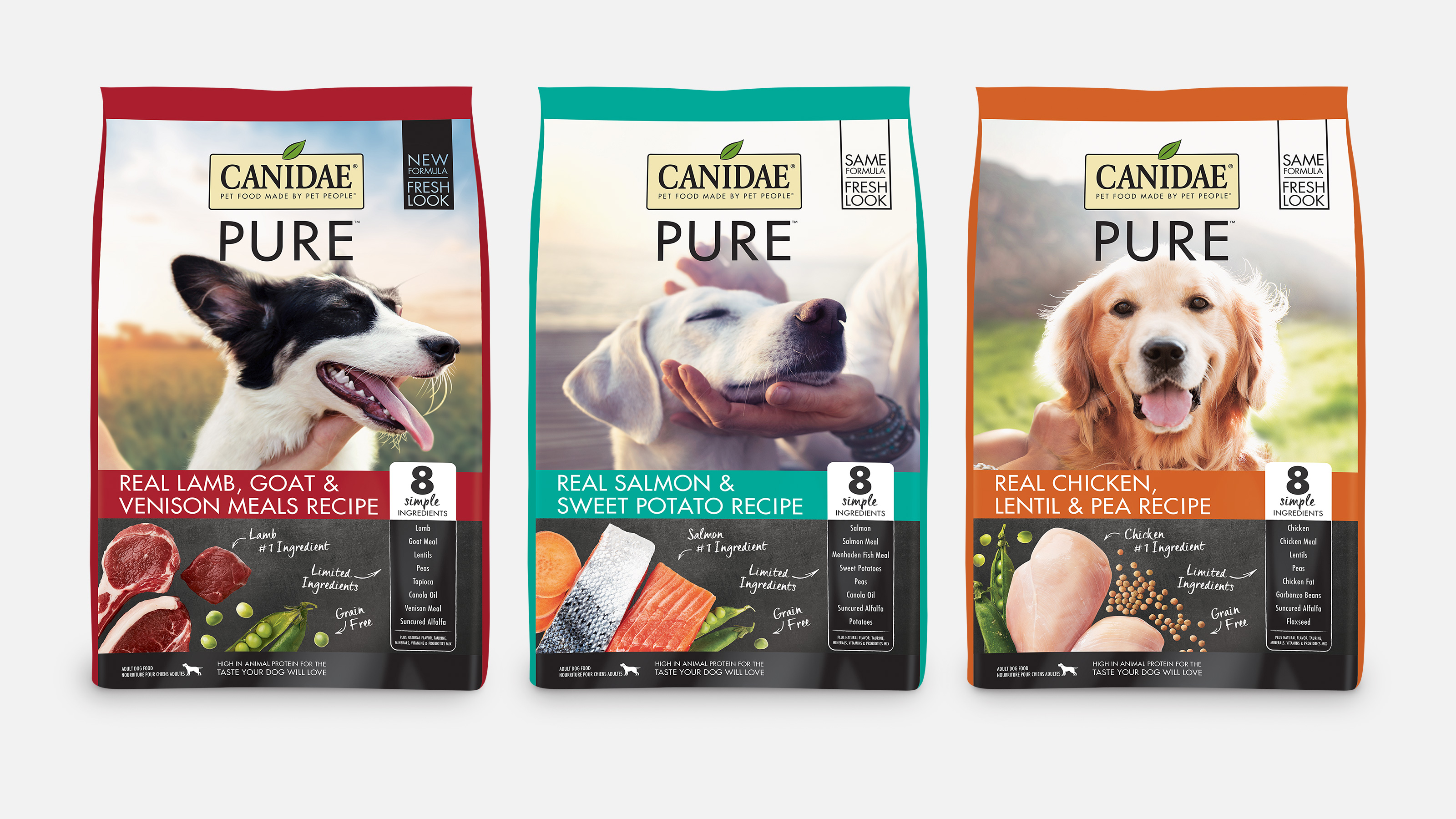 Packaging examples of CANIDAE Grain Free PURE dry dog food recipes
