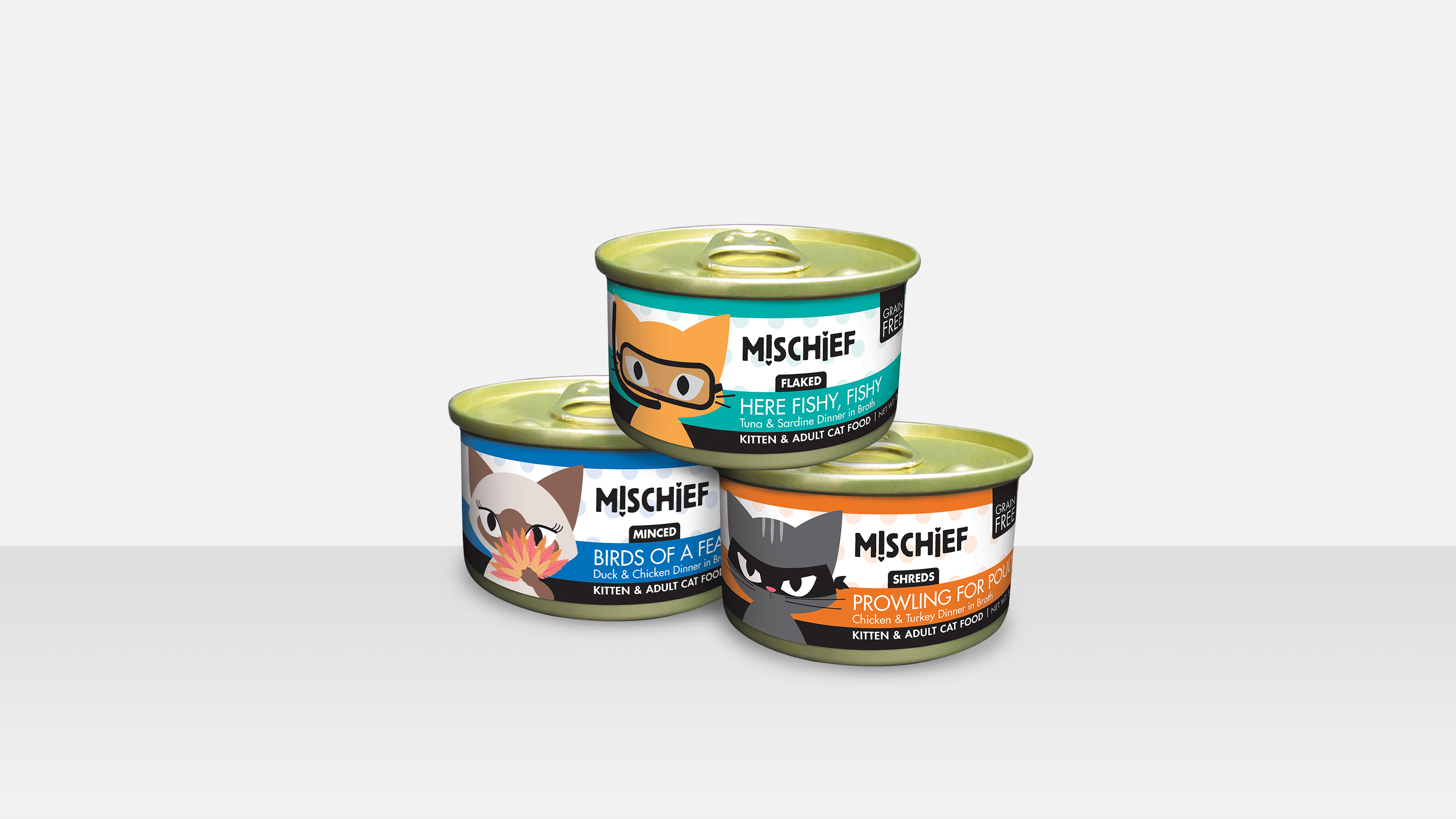 CANIDAE Grain Free 3 cans (blue, green and orange) of M!SCHIEF kitten & adult cat food