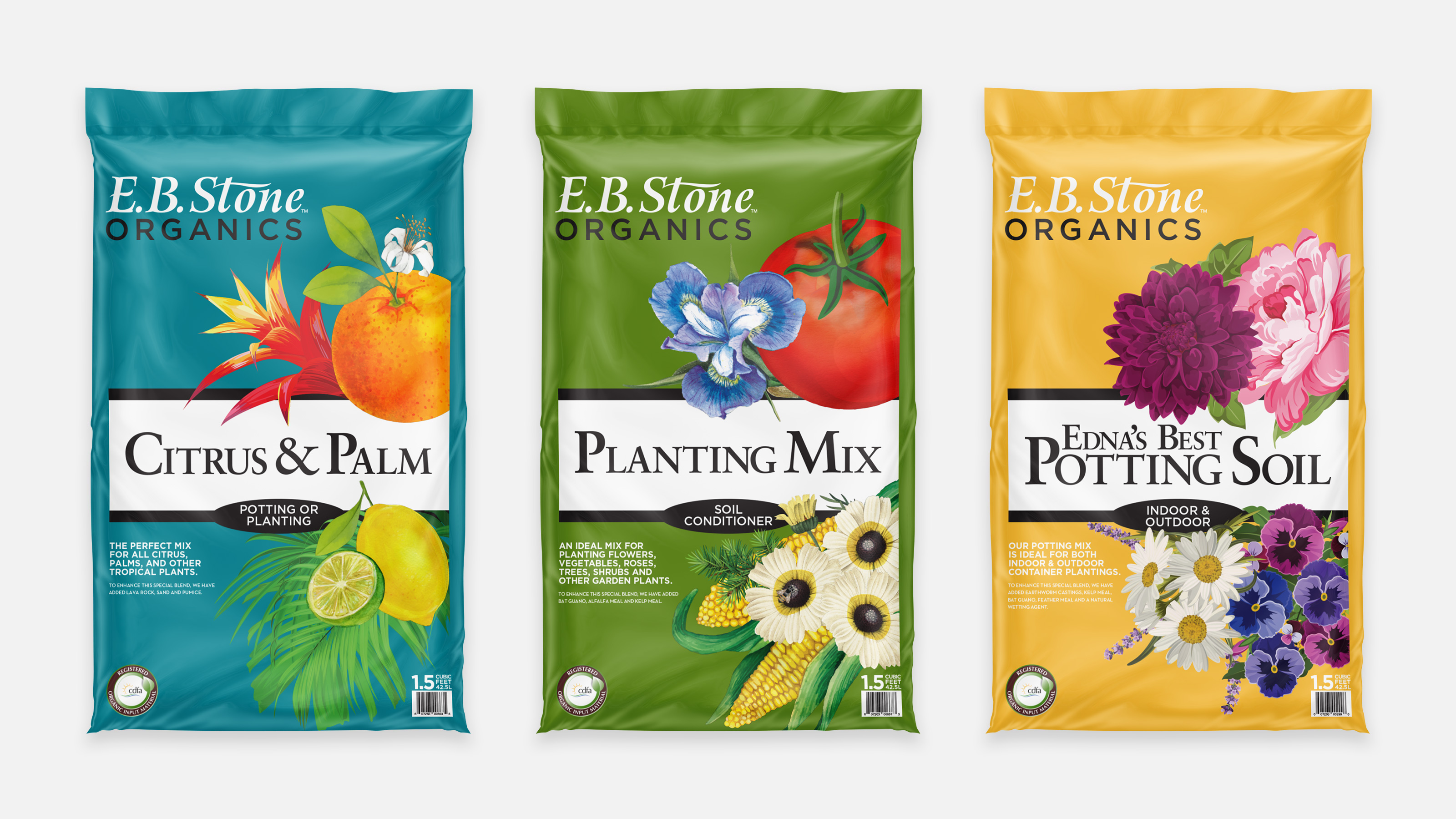E.B. Sone Organics Bags of Planting mix and potting soil. One blue, green and yellow.