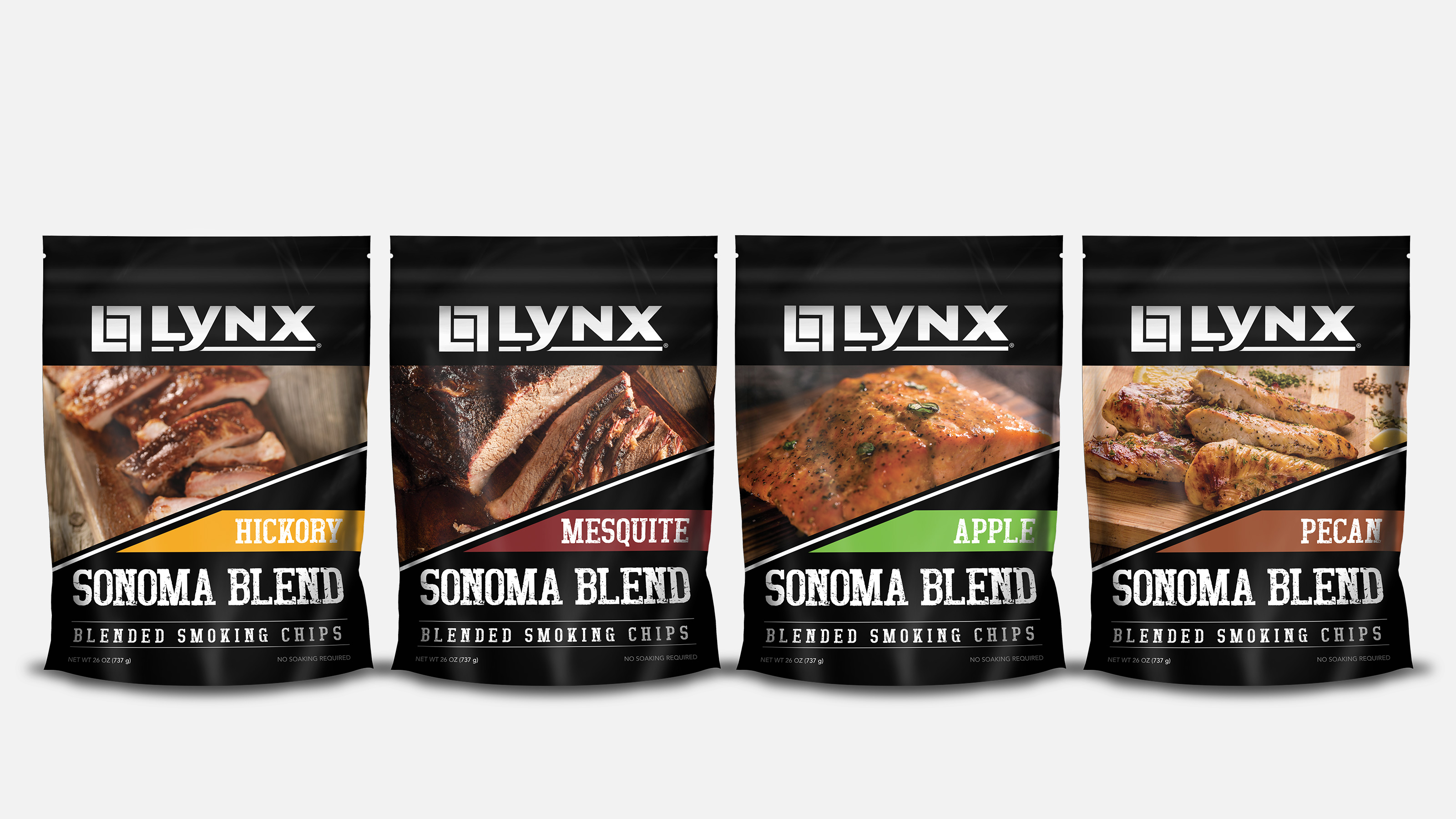 Lynx BBQ blended smoking chip product group shot
