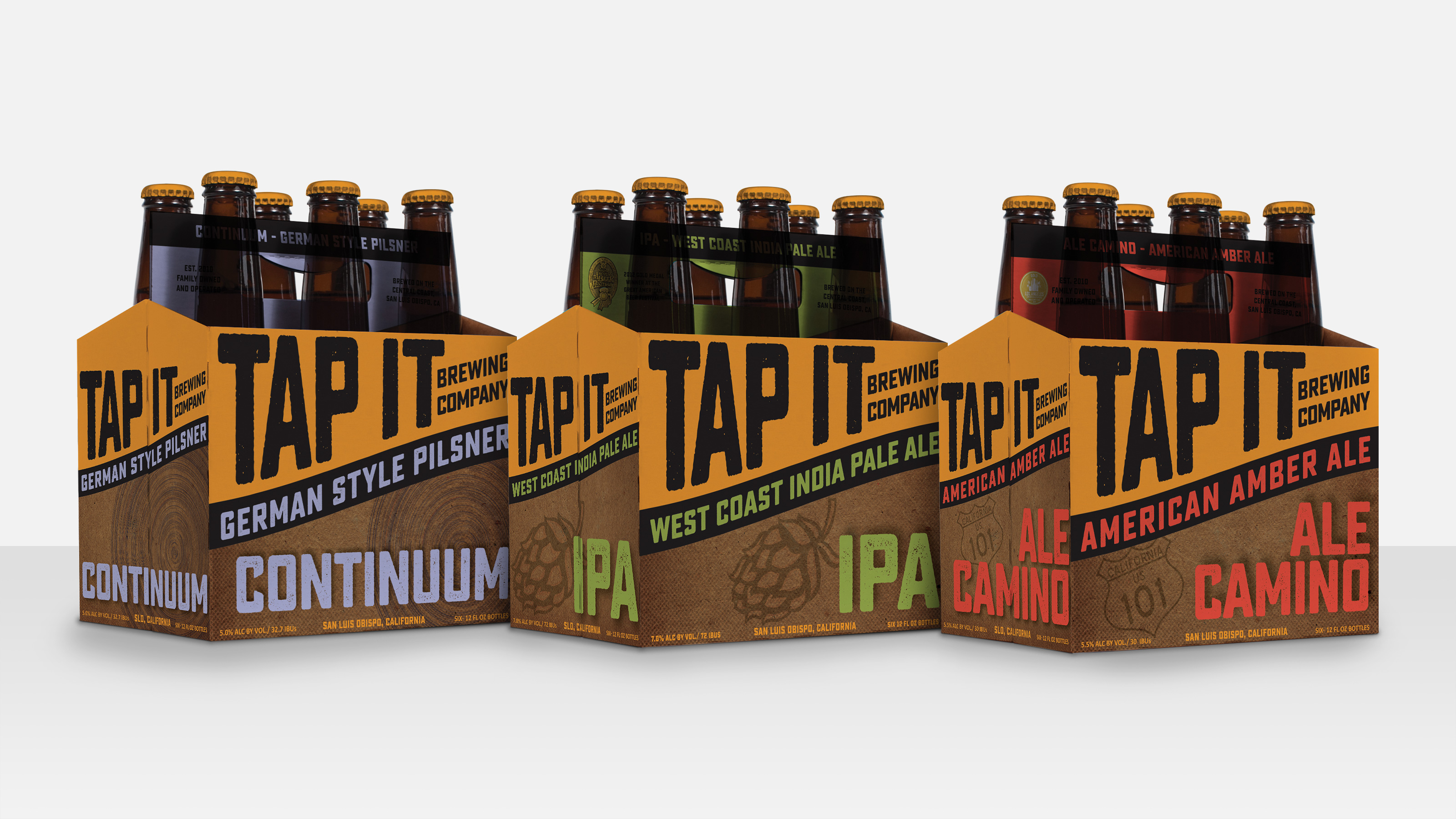three six packs of Tap It beer packaging group shot