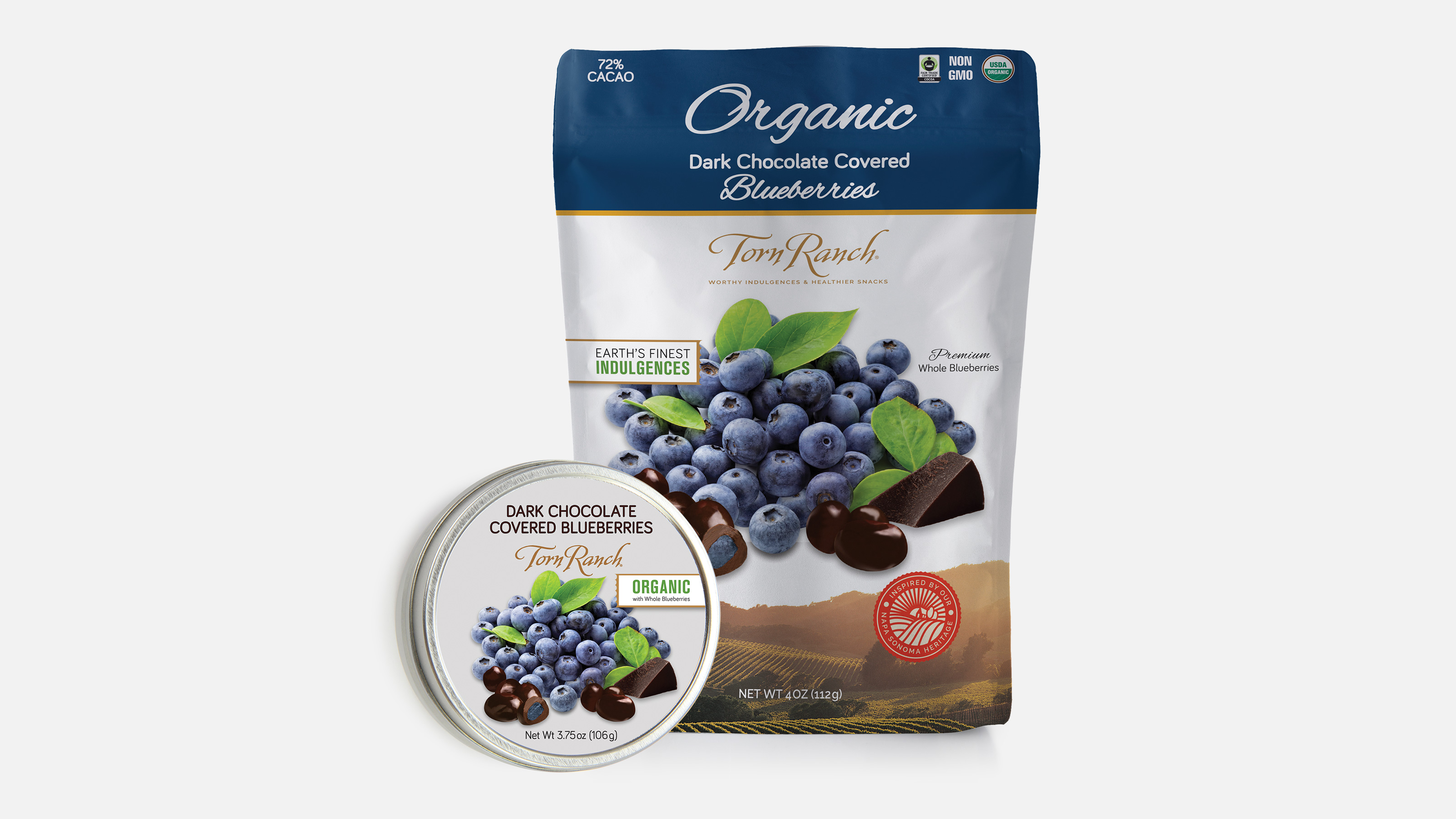 Torn Ranch chocolate covered blueberries. Pouch and can packaging.