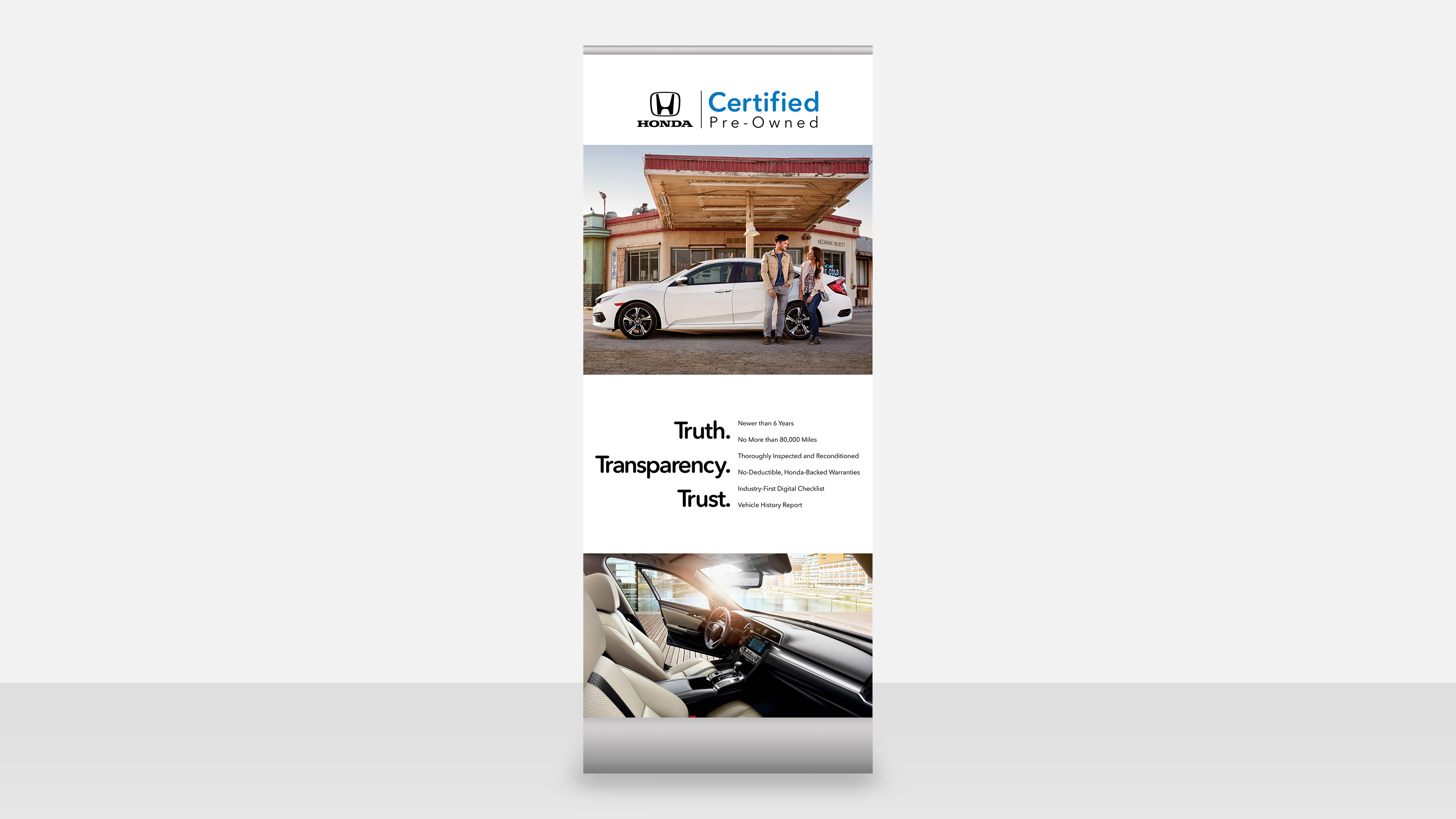 honda motors pre-owned point of purchase in-store banner