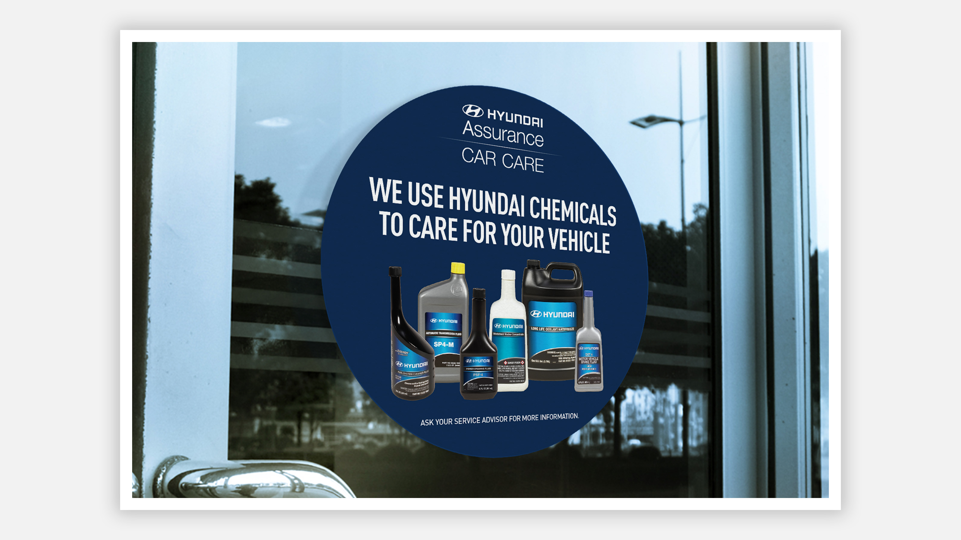 Hyundai Car Care Assurance cling ad on window