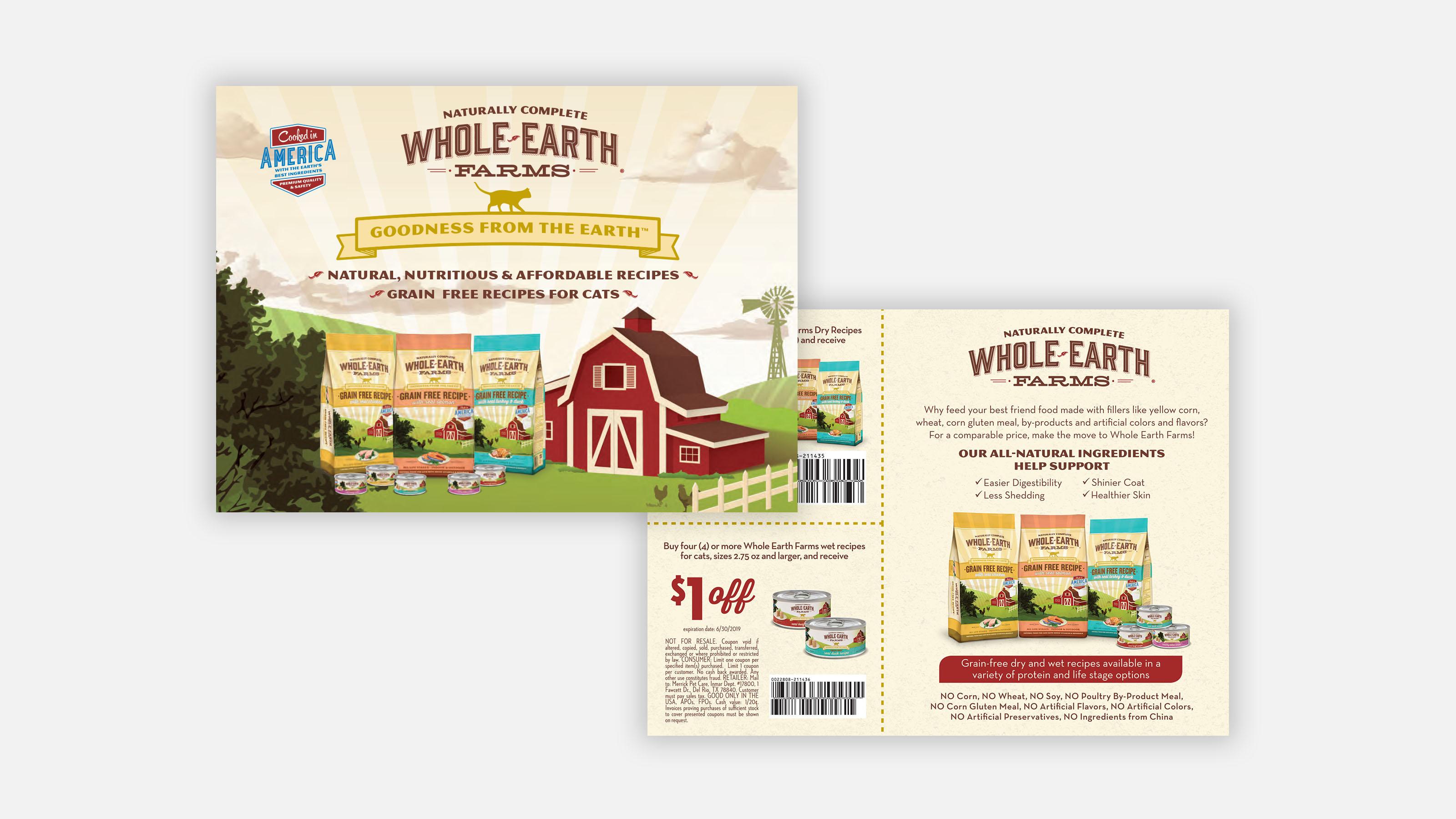 Merrick pet care marketing postcard with coupon