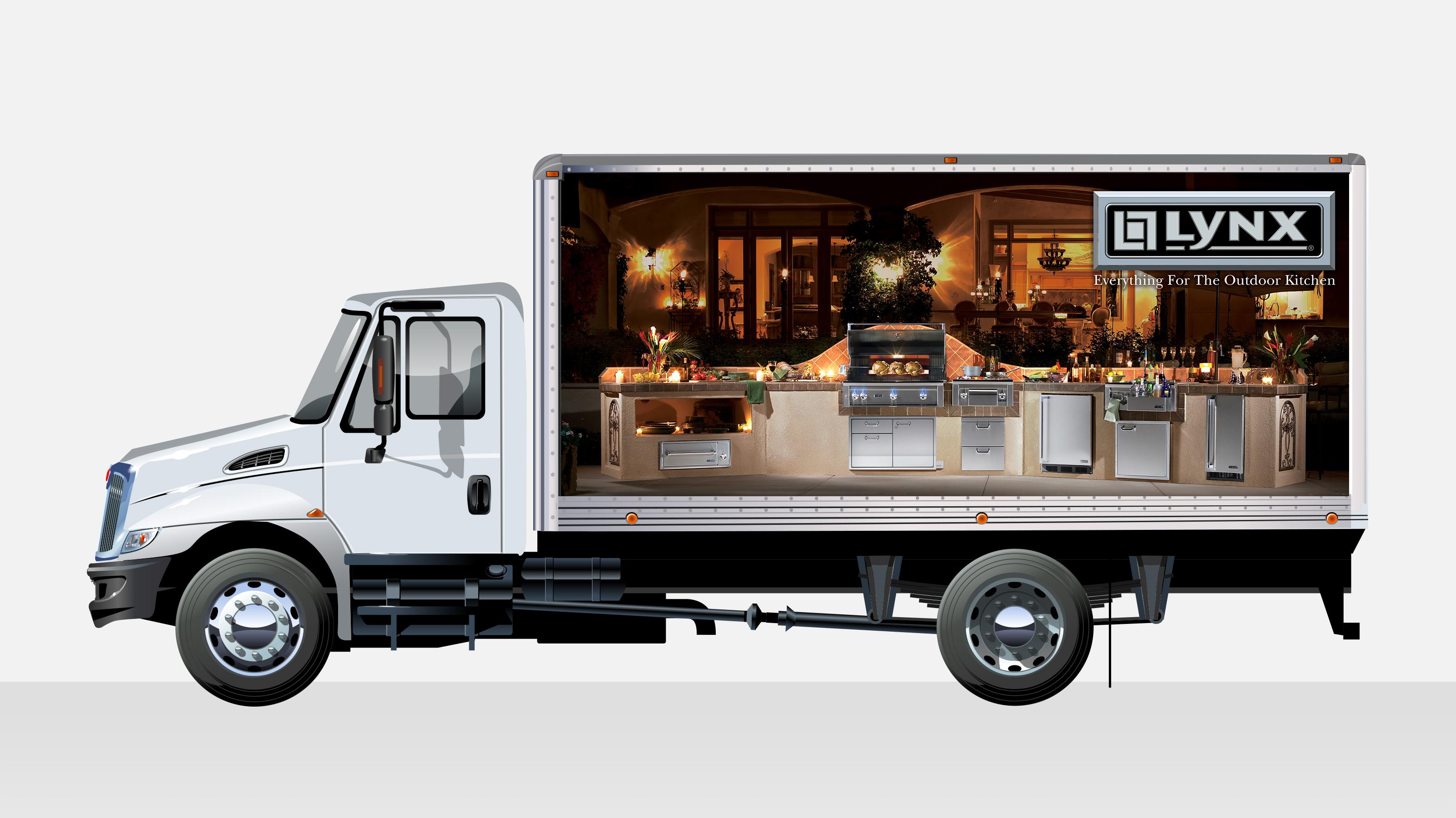 Lynx vehicle wrap ad on truck