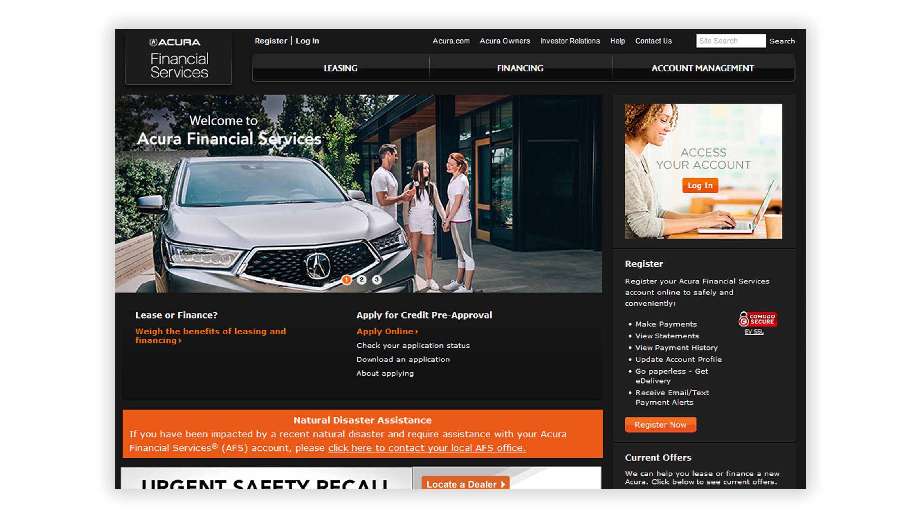 Acura financial services website