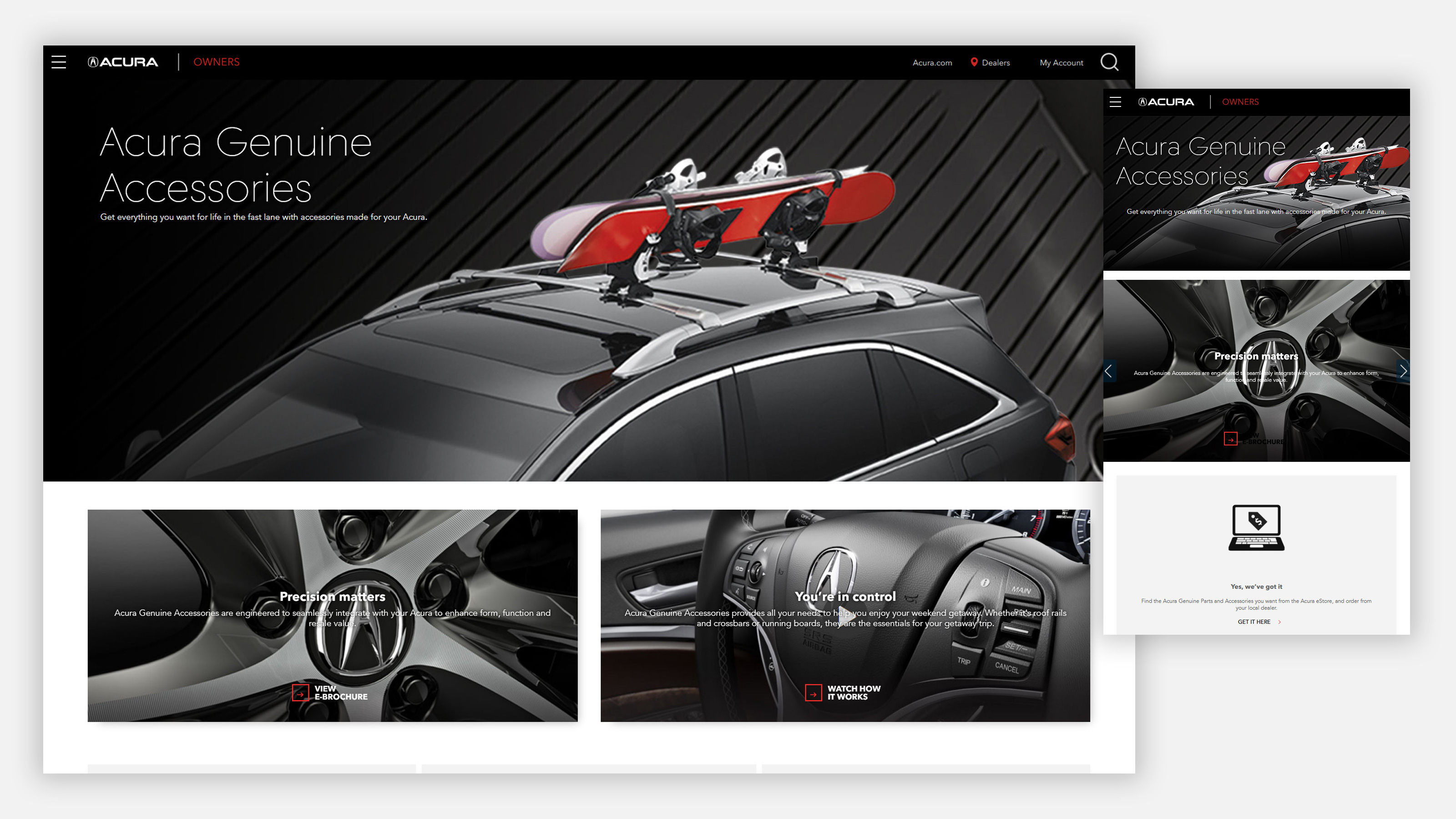 Acura owners site on mobile and desktop