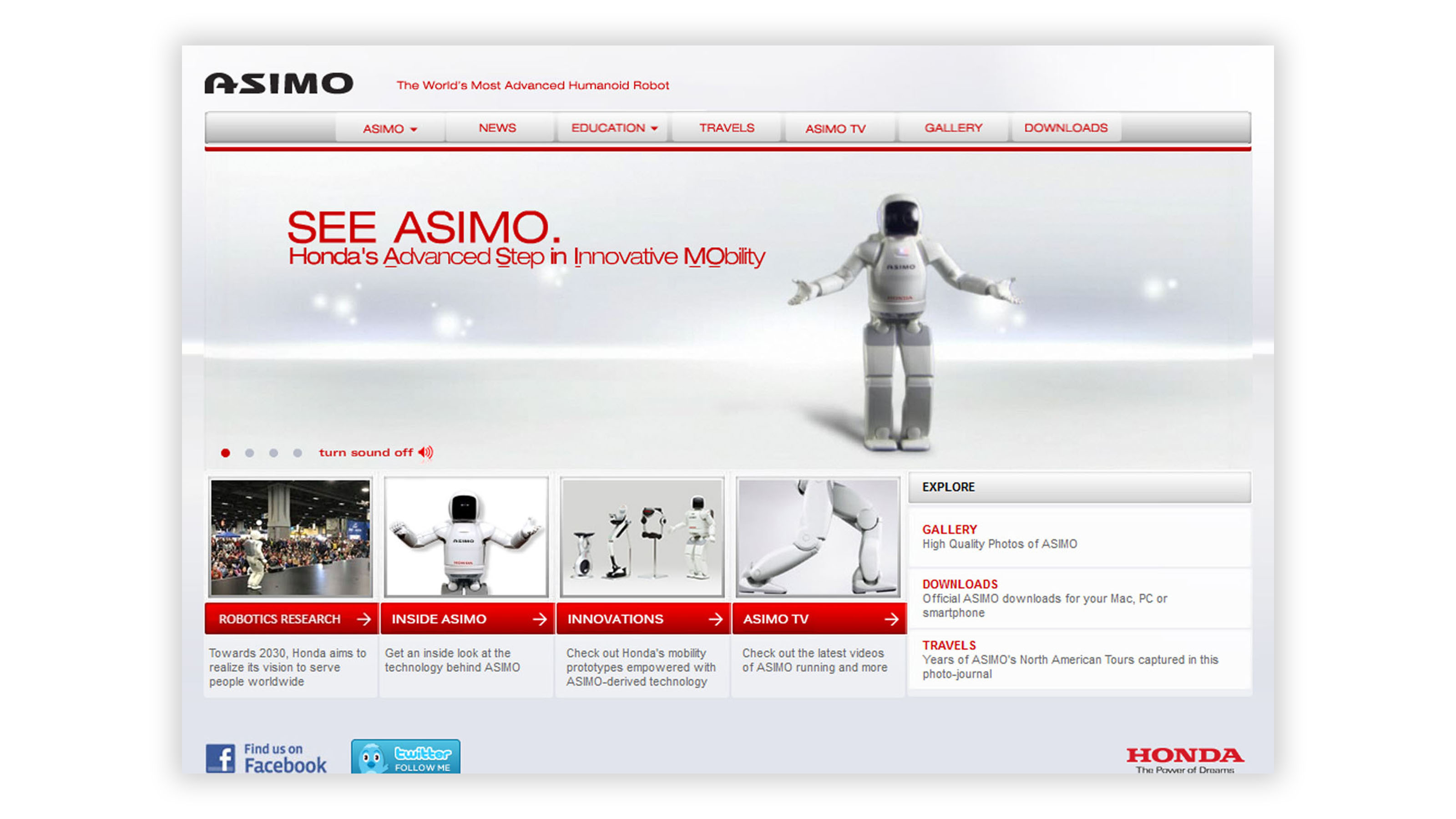 Honda Asimo website on desktop