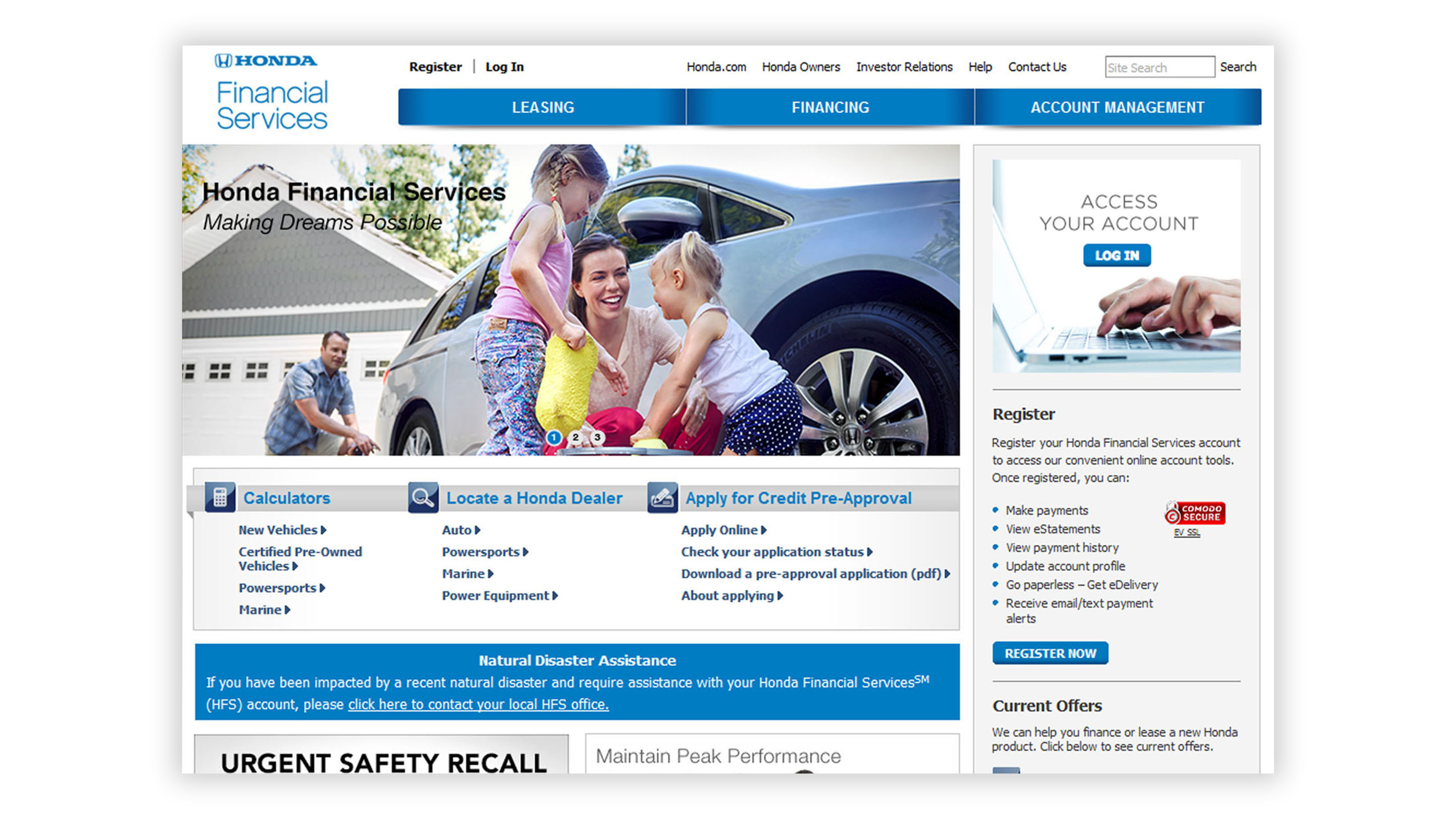 Honda financial services website
