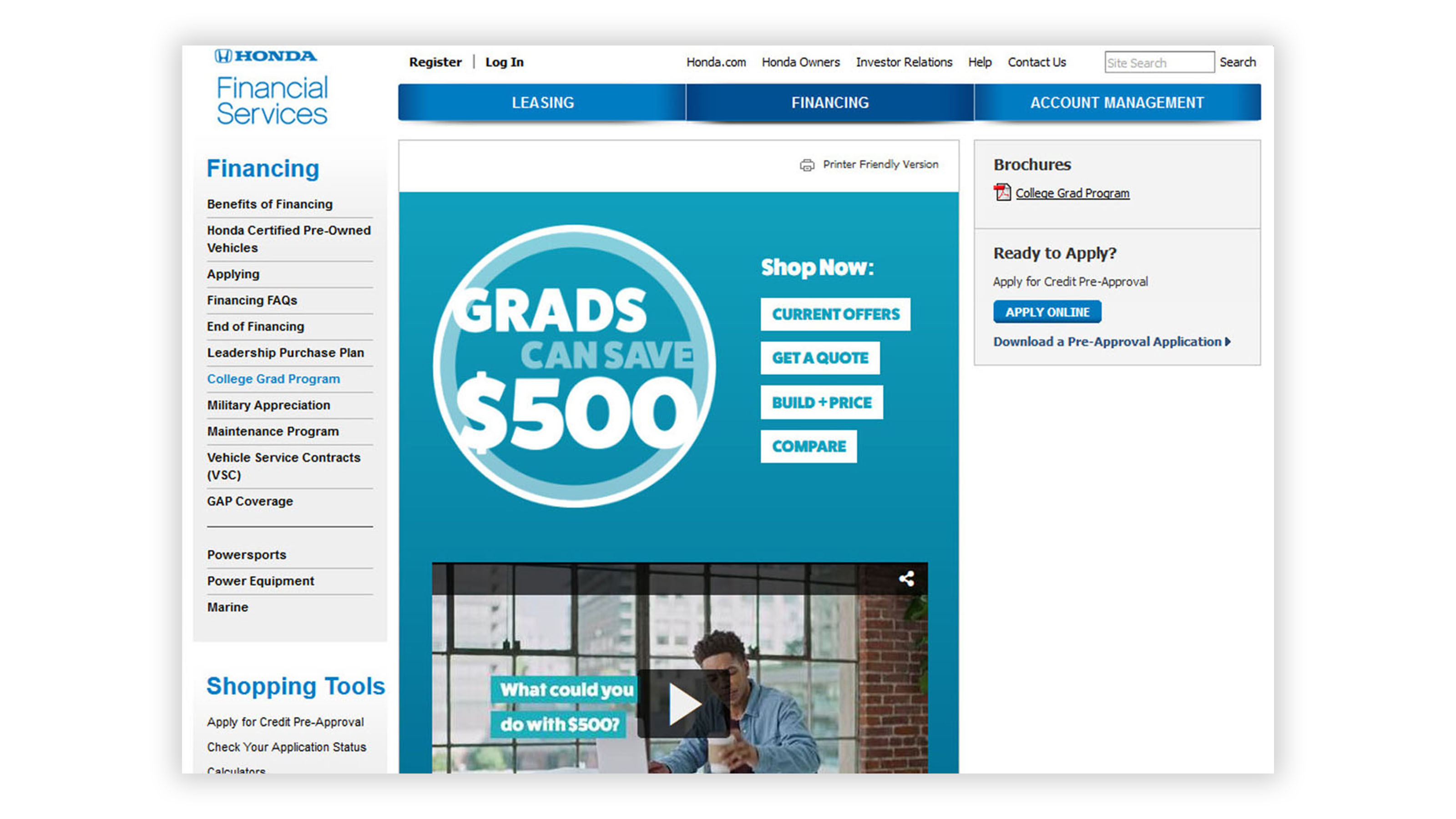 Honda financial services college grad website