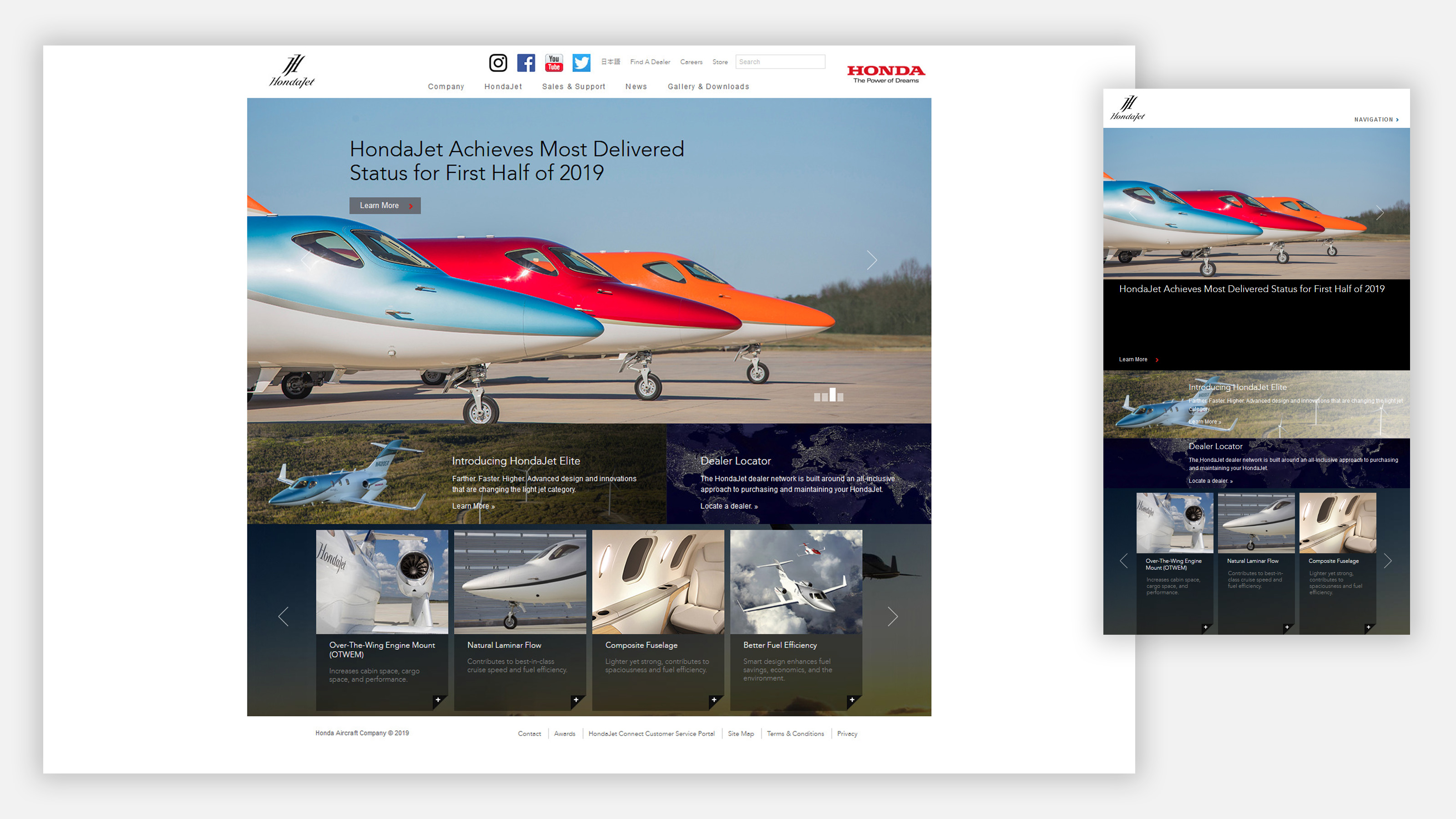 Honda jet website on mobile and desktop
