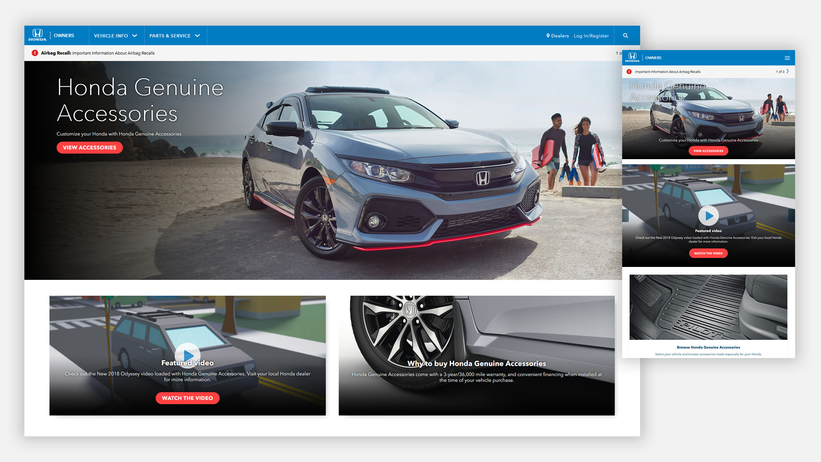 Honda owners website on mobile and desktop