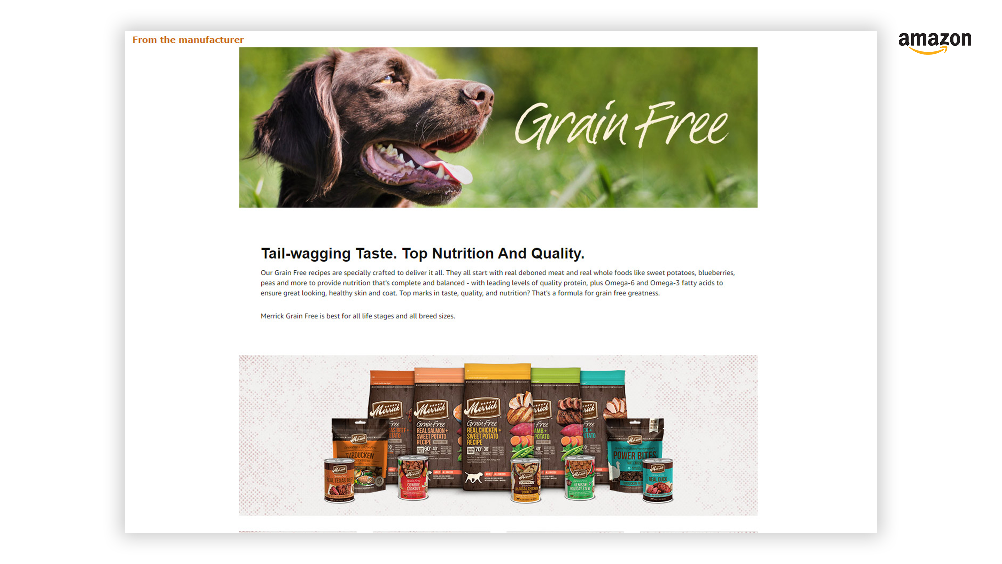 Merrick Grain Free Amazon A+ Enhanced Content Page