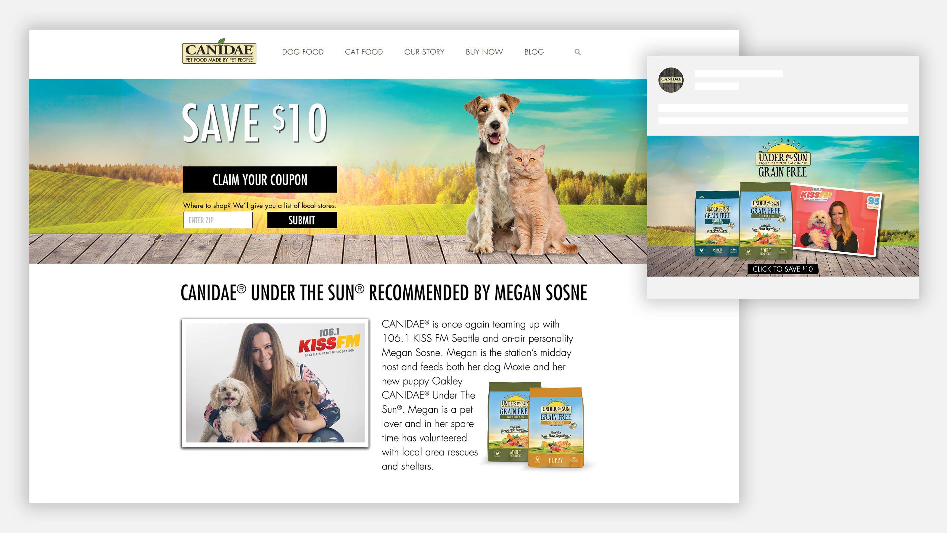 CANIDAE Pet Food iHeartRadio influencer landing page
