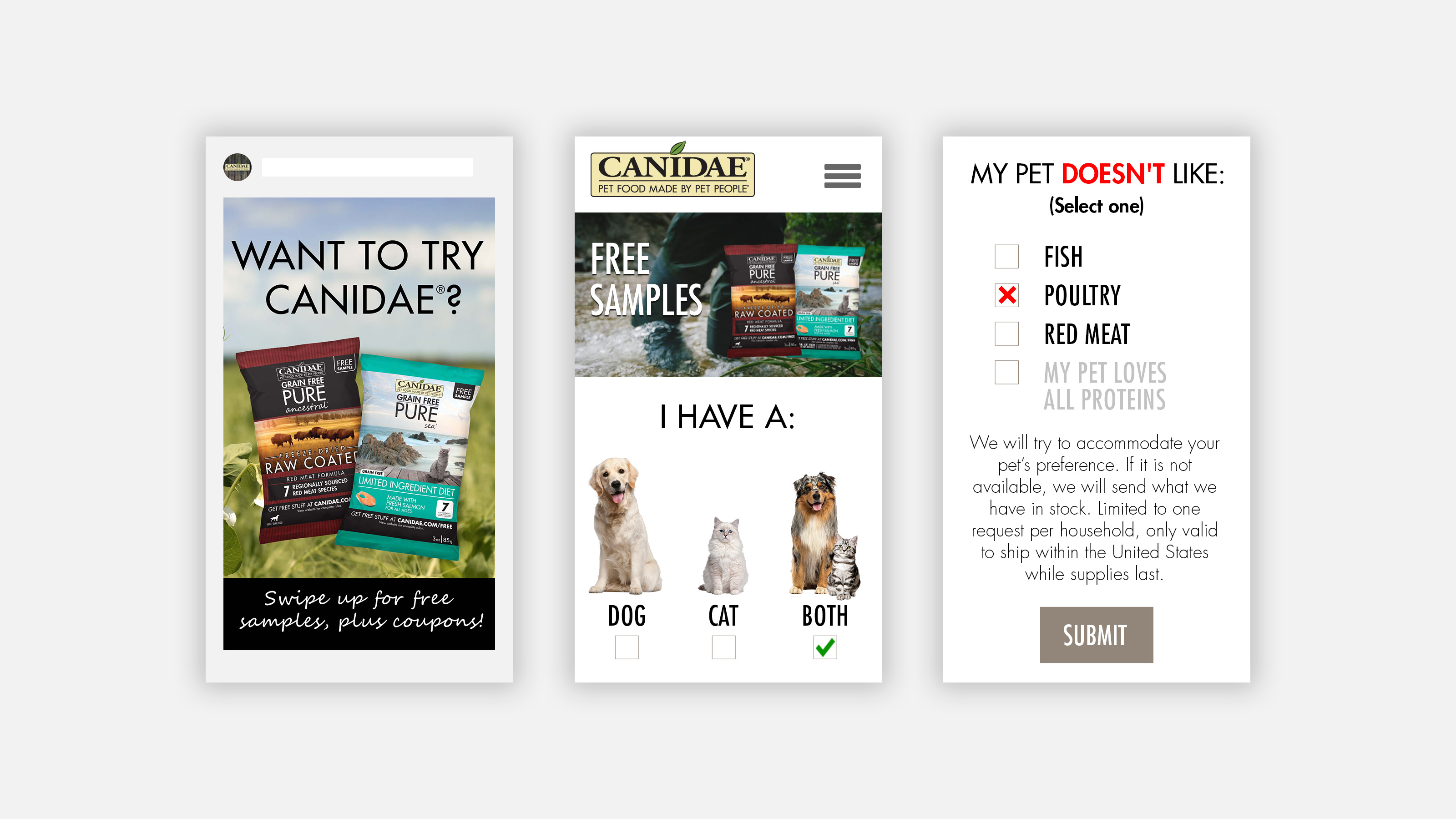 CANIDAE Pet Food Instagram story ad and landing page for Sample Program