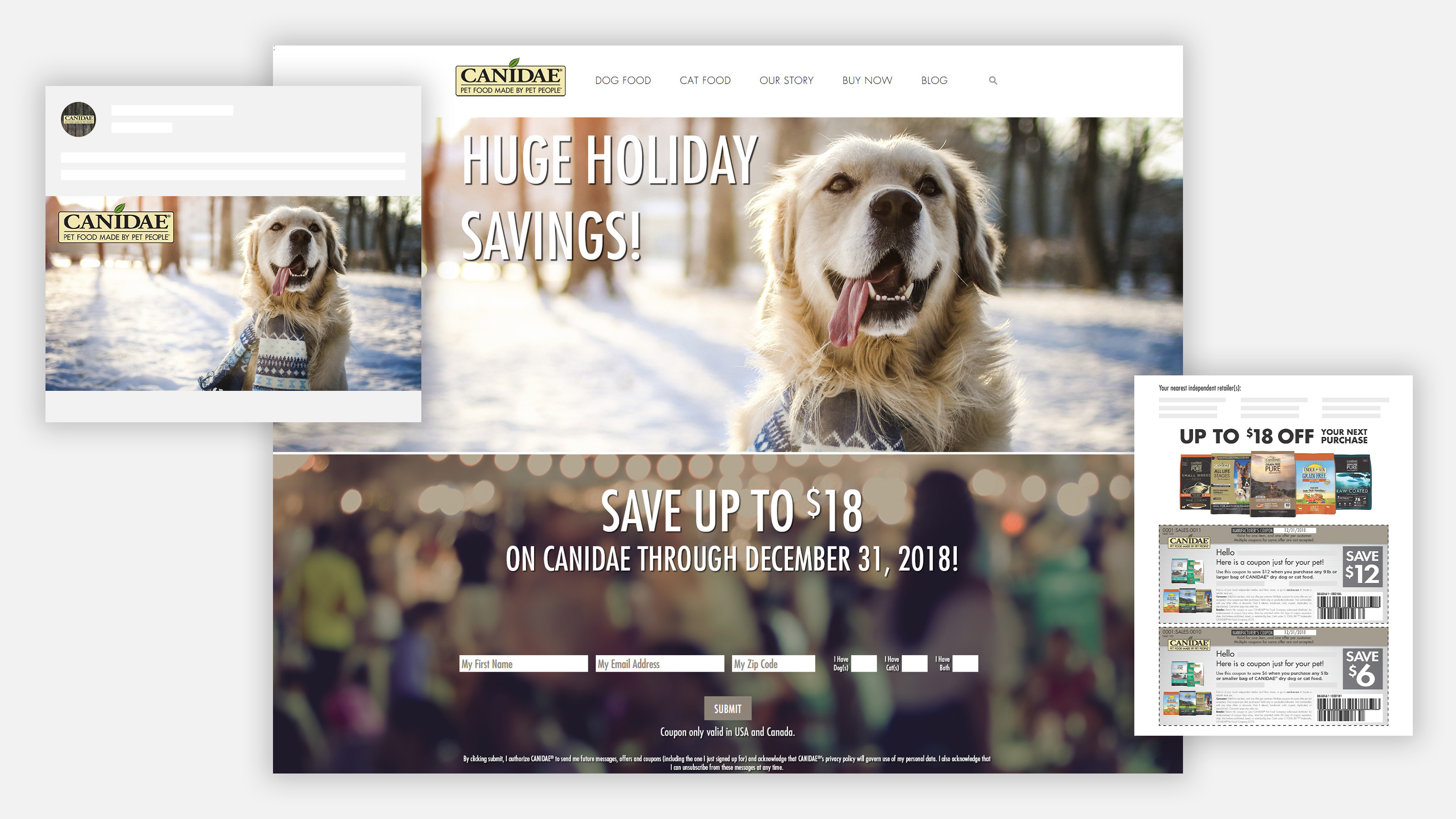 CANIDAE Pet Food holiday coupon landing page